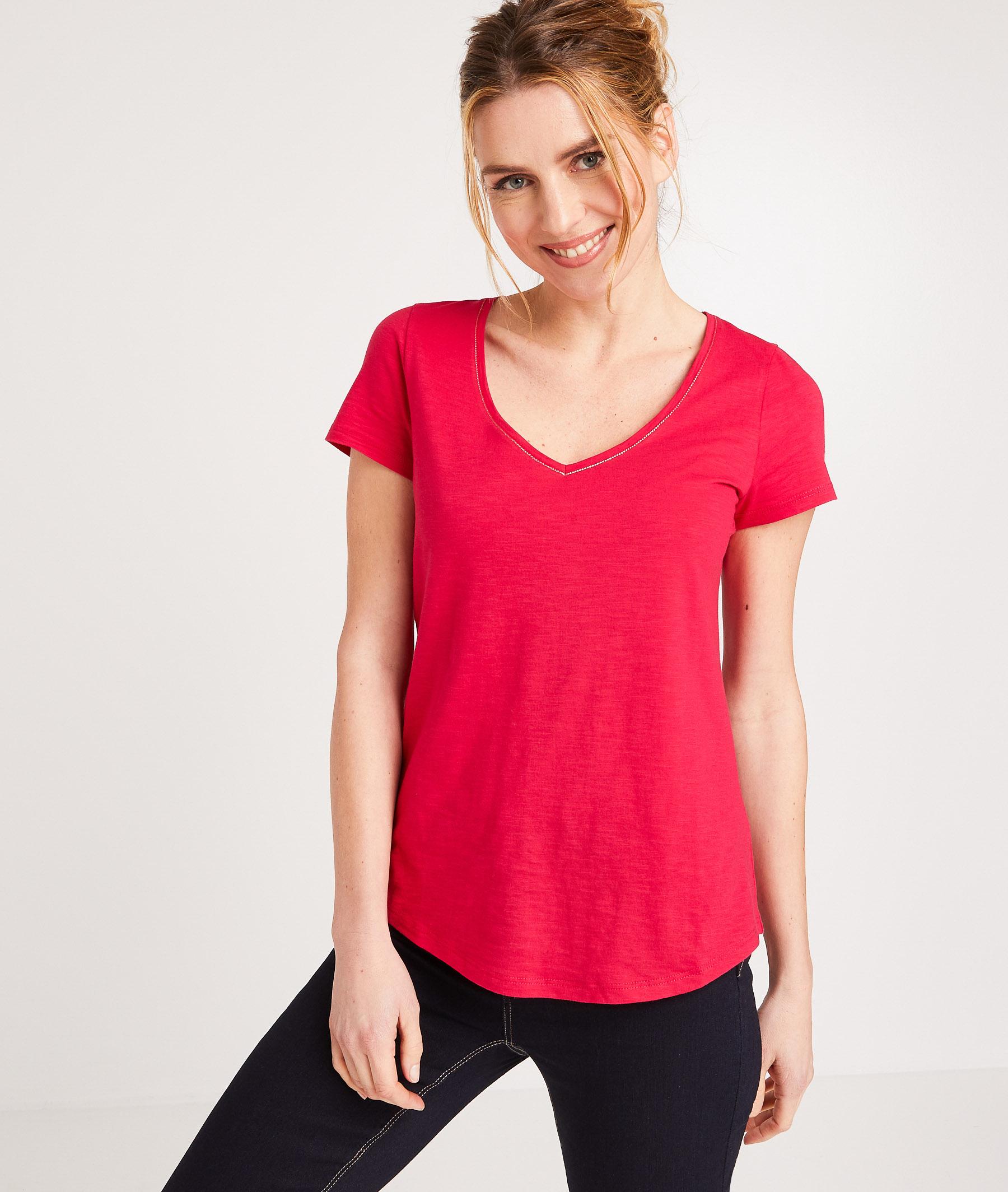 T-shirt 100% coton uni femme FUCHSIA