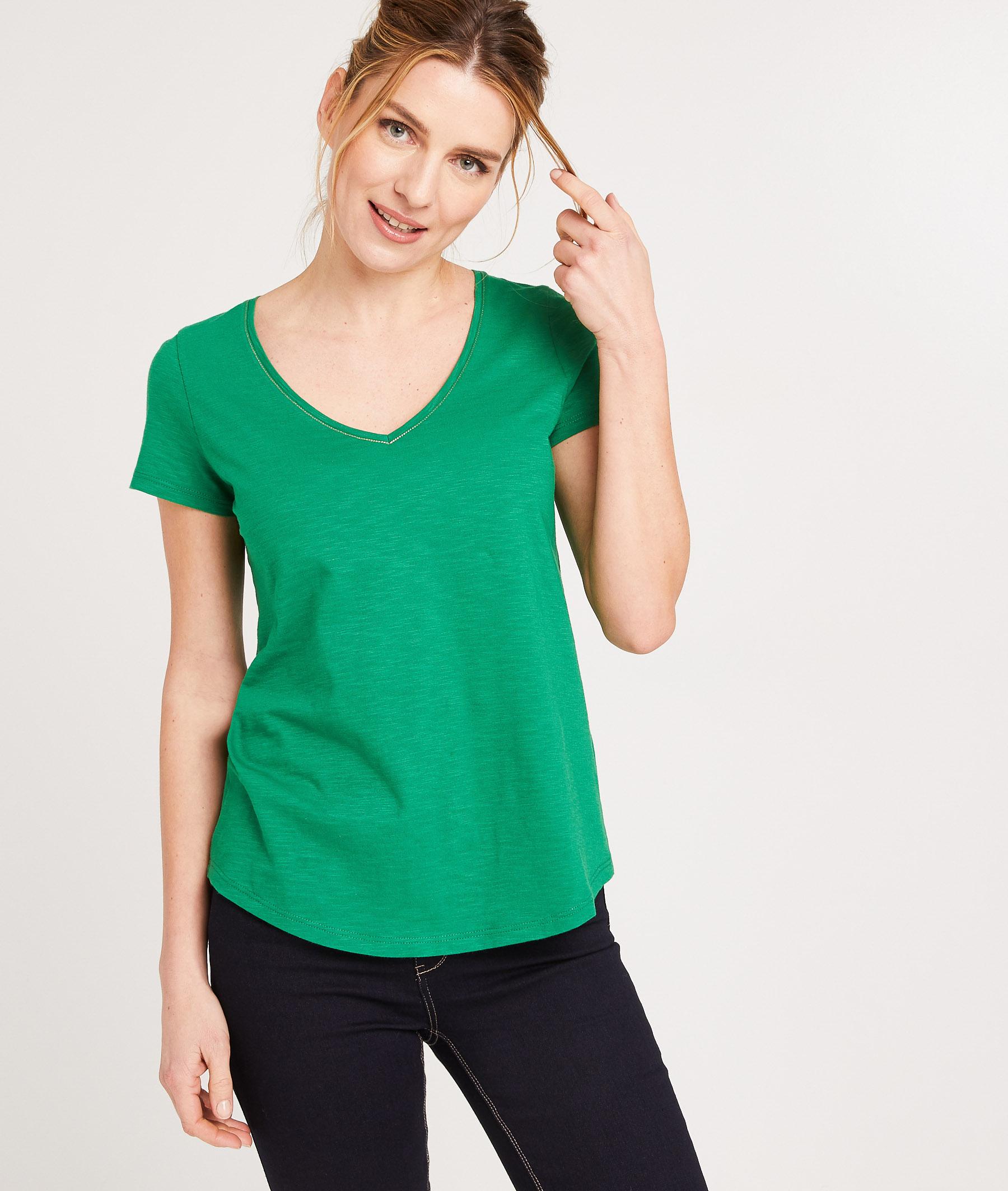 T-shirt 100% coton uni femme VERT