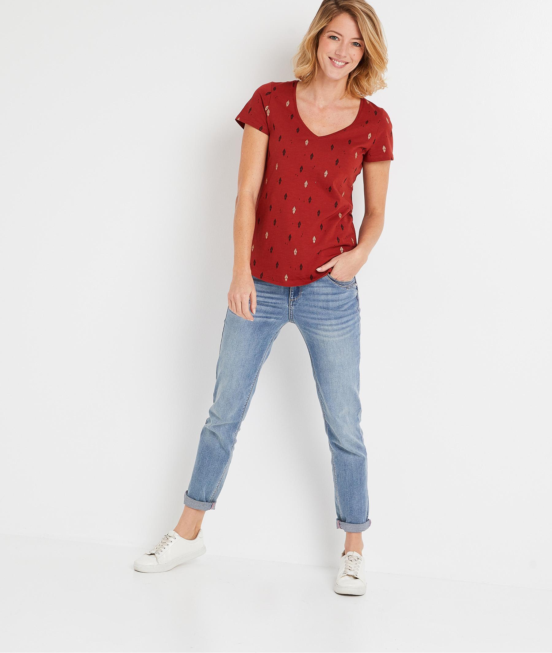 T-shirt femme imprimé en coton TERRACOTTA