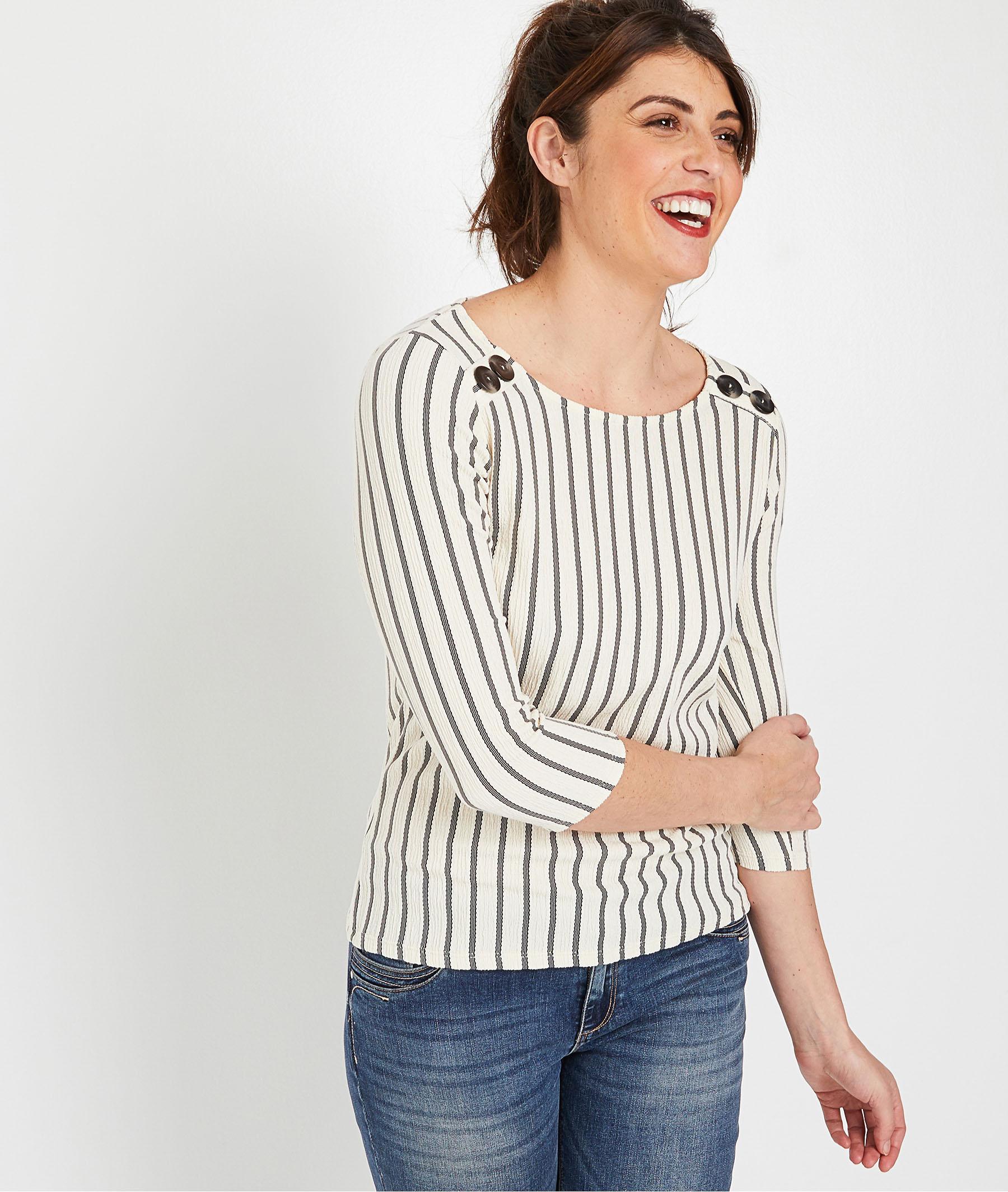 T-shirt rayé femme ECRU