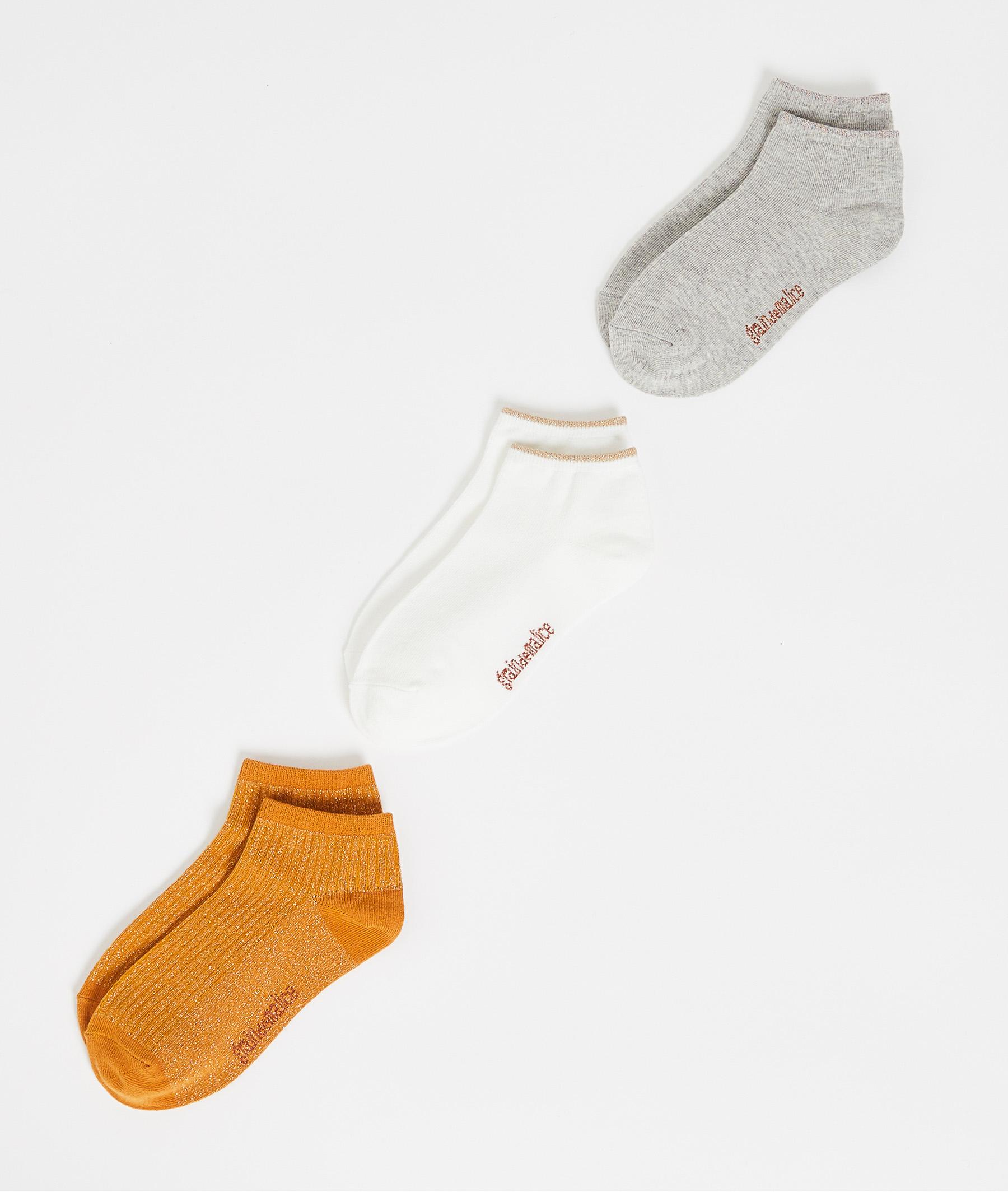 Lot de 3 paires de socquettes femme JAUNE