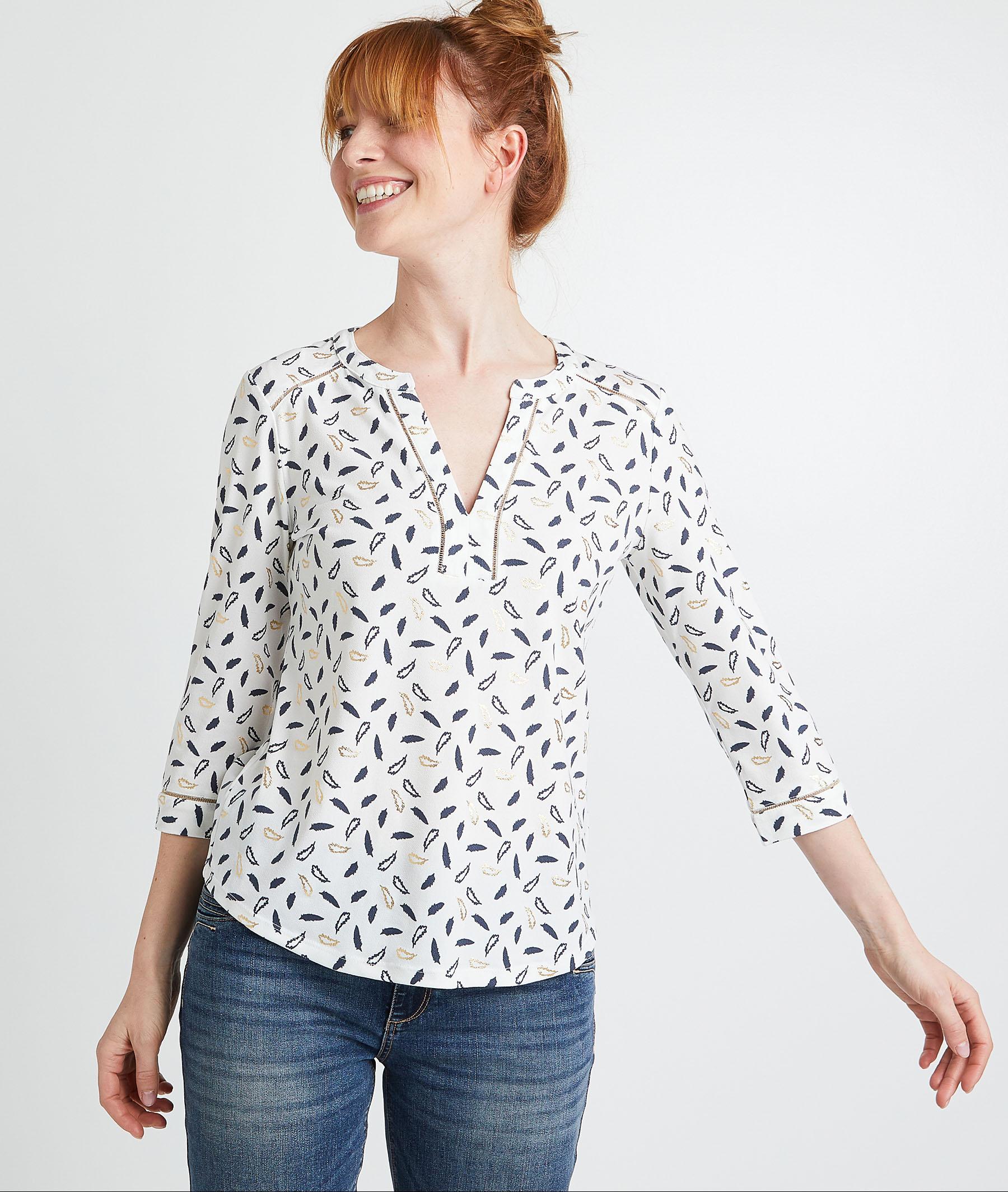T-shirt à motifs femme ECRU