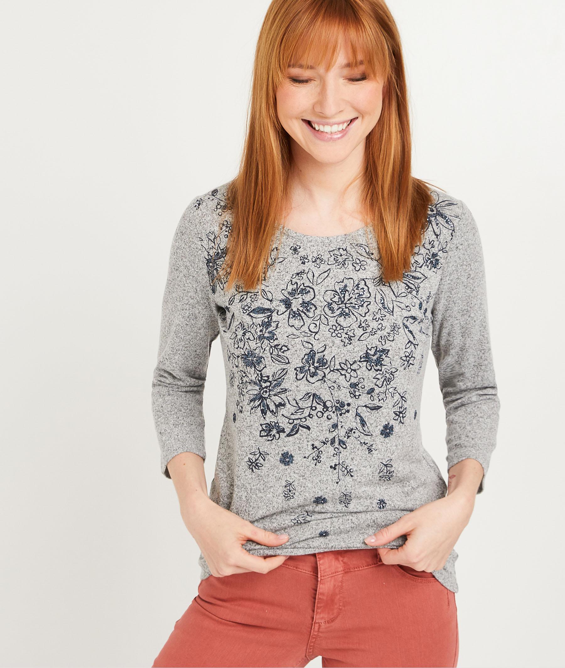 T-shirt à motif fleuri femme GRIS