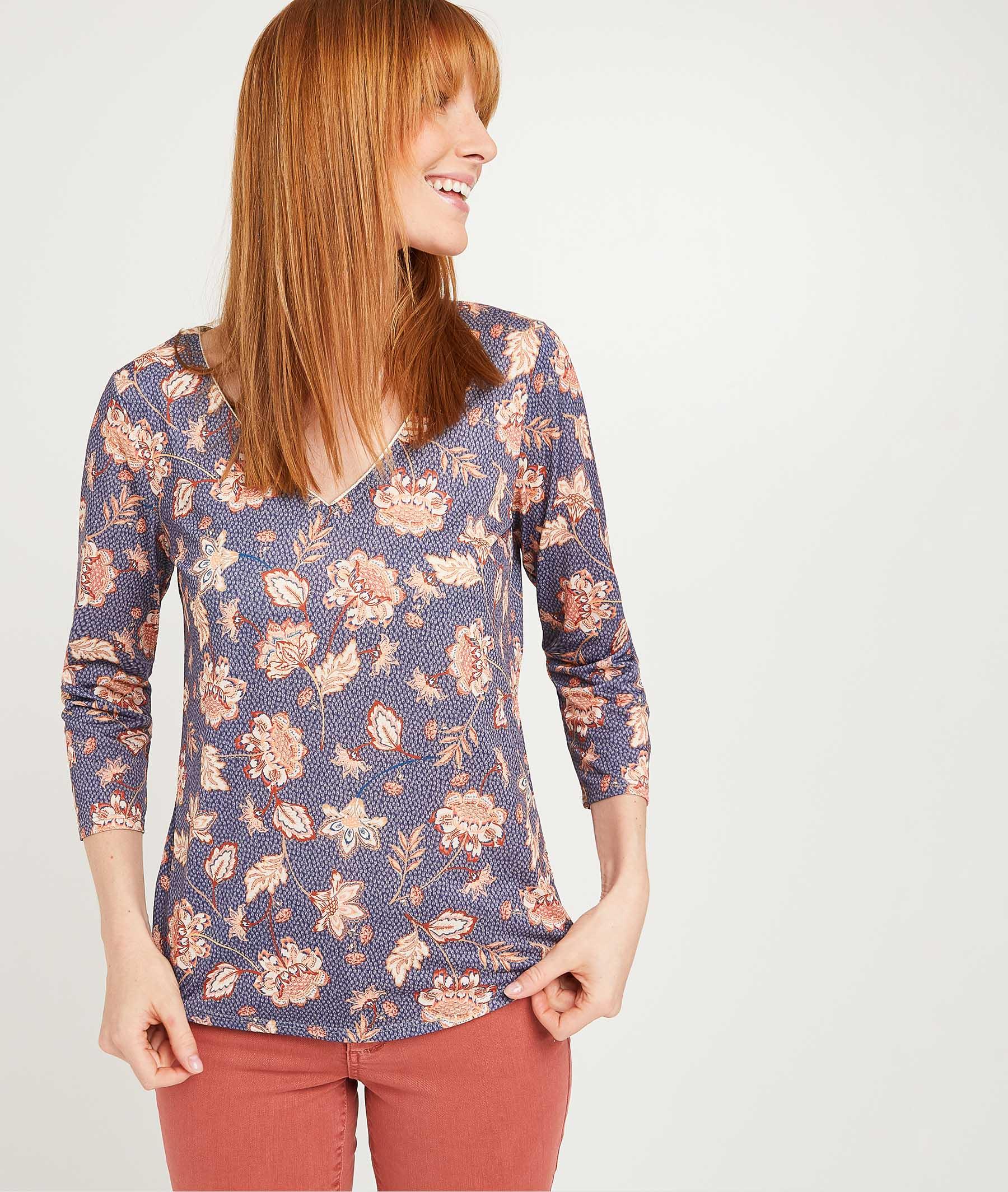 T-shirt imprimé fleuri femme BLEU