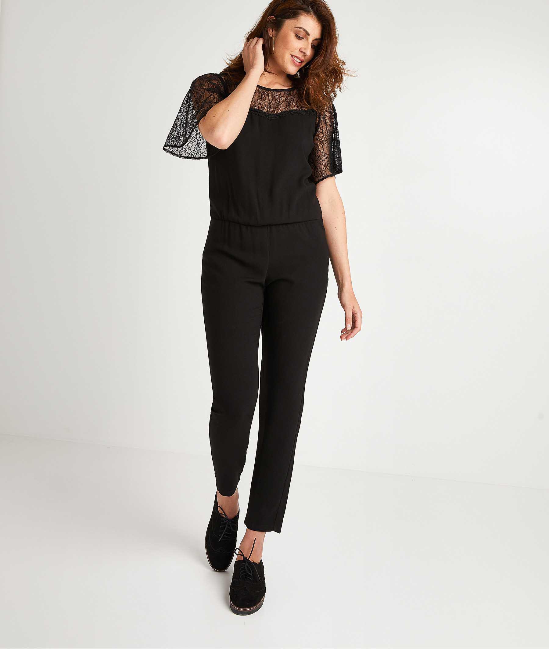 Combi-pantalon noire femme NOIR