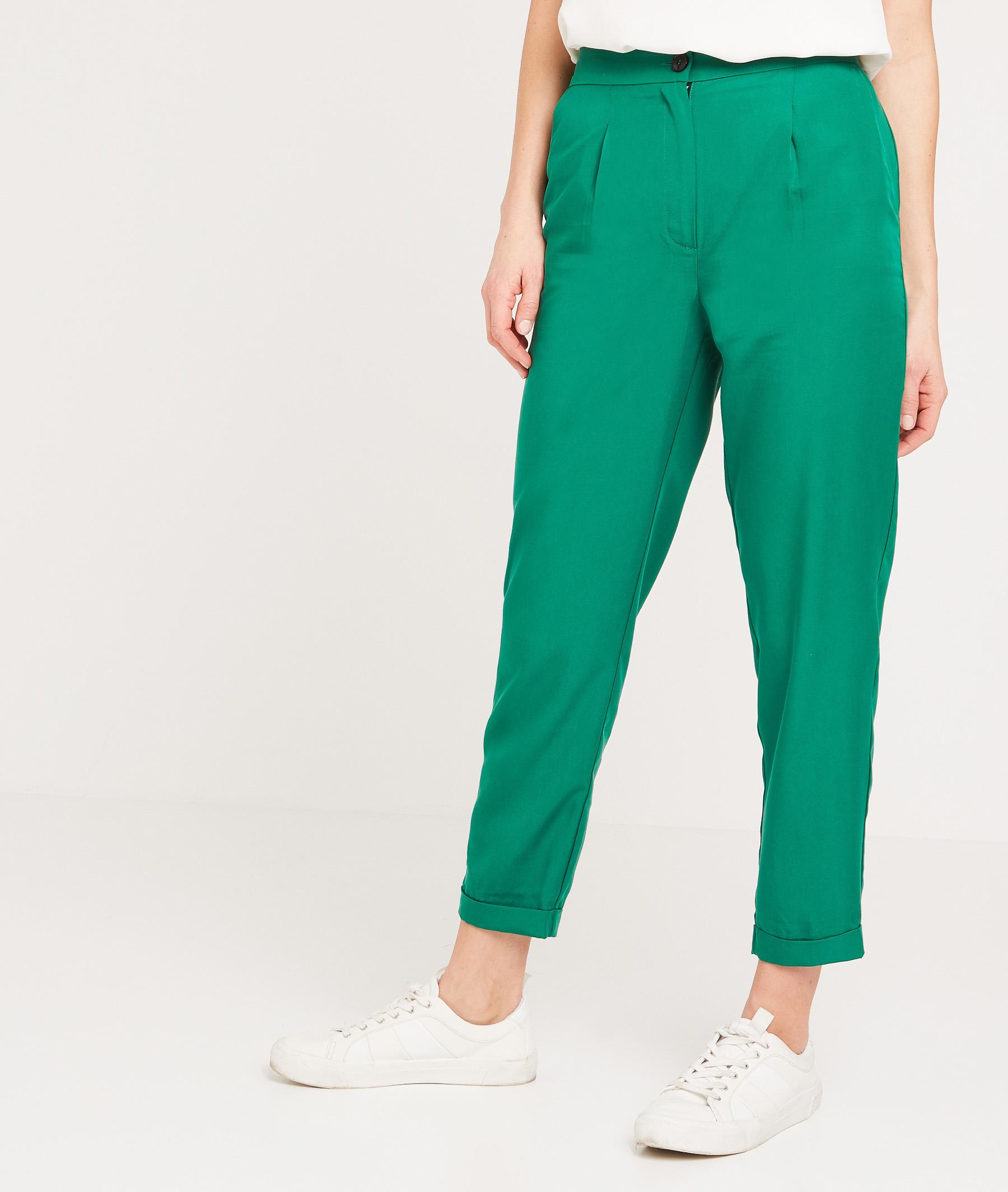 Pantalon en lyocell vert femme VERT