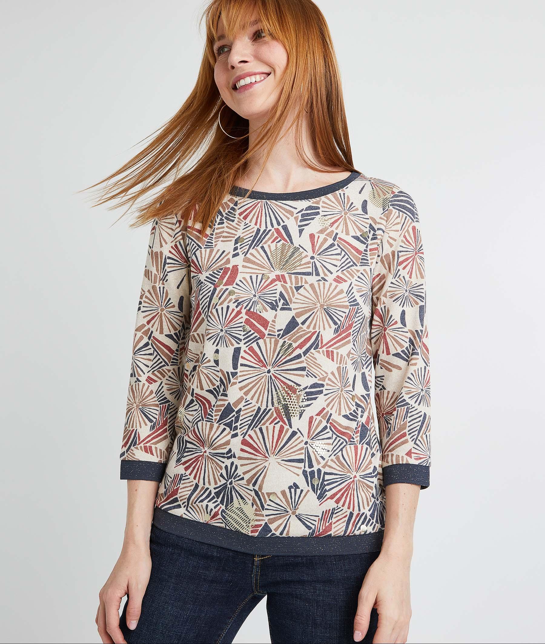T-shirt imprimé graphique femme BEIGE