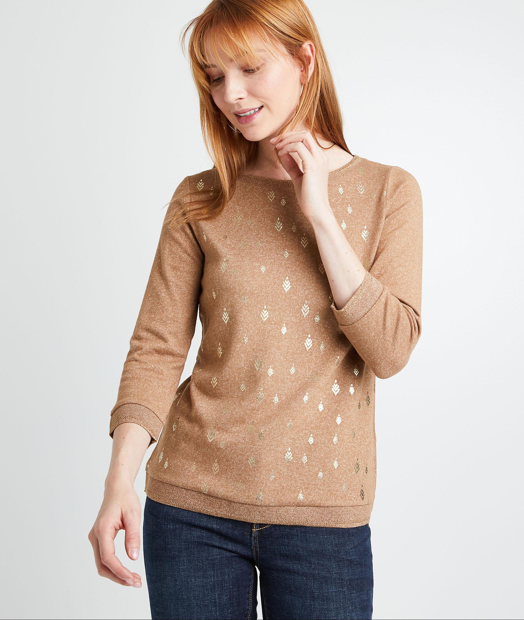 T-shirt taupe à motifs femme TAUPE