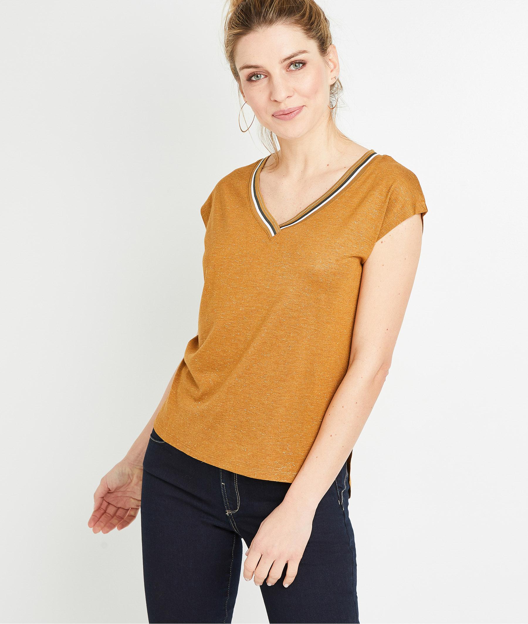 T-shirt uni avec galon femme CARAMEL