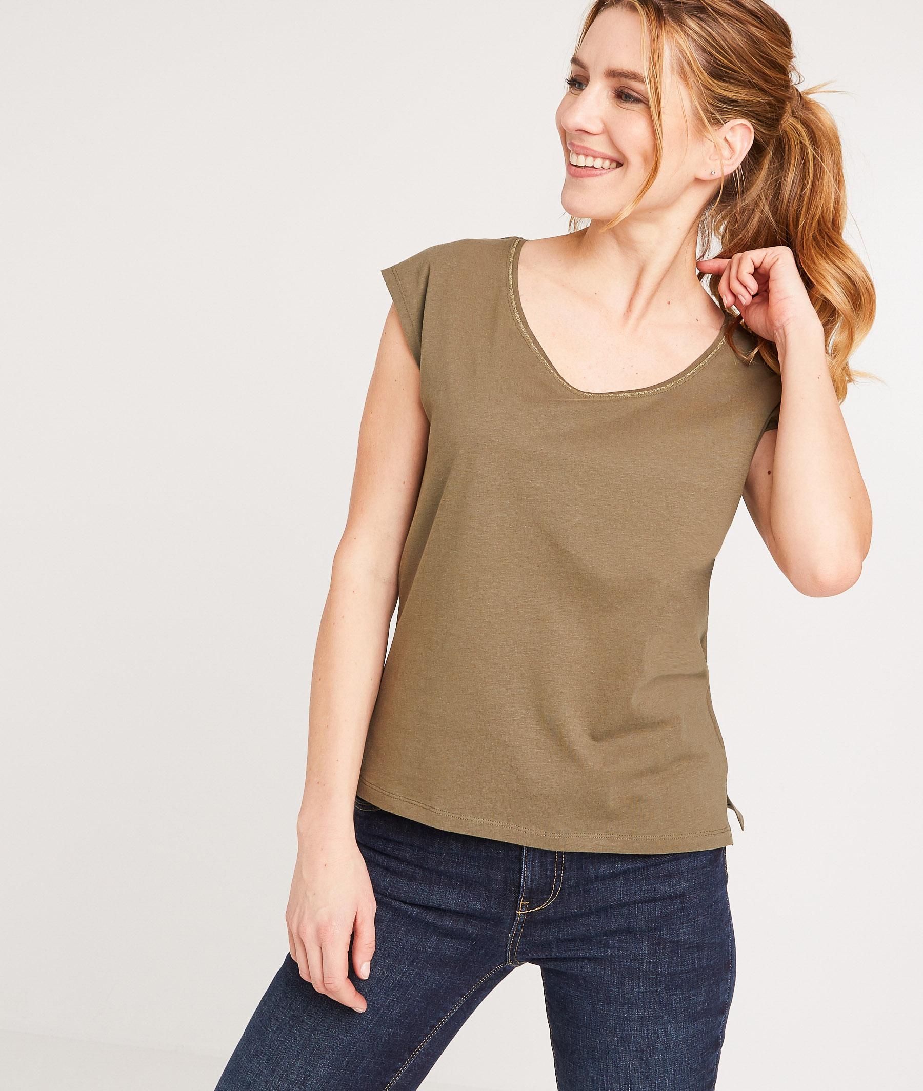 T-shirt en coton uni femme KAKI