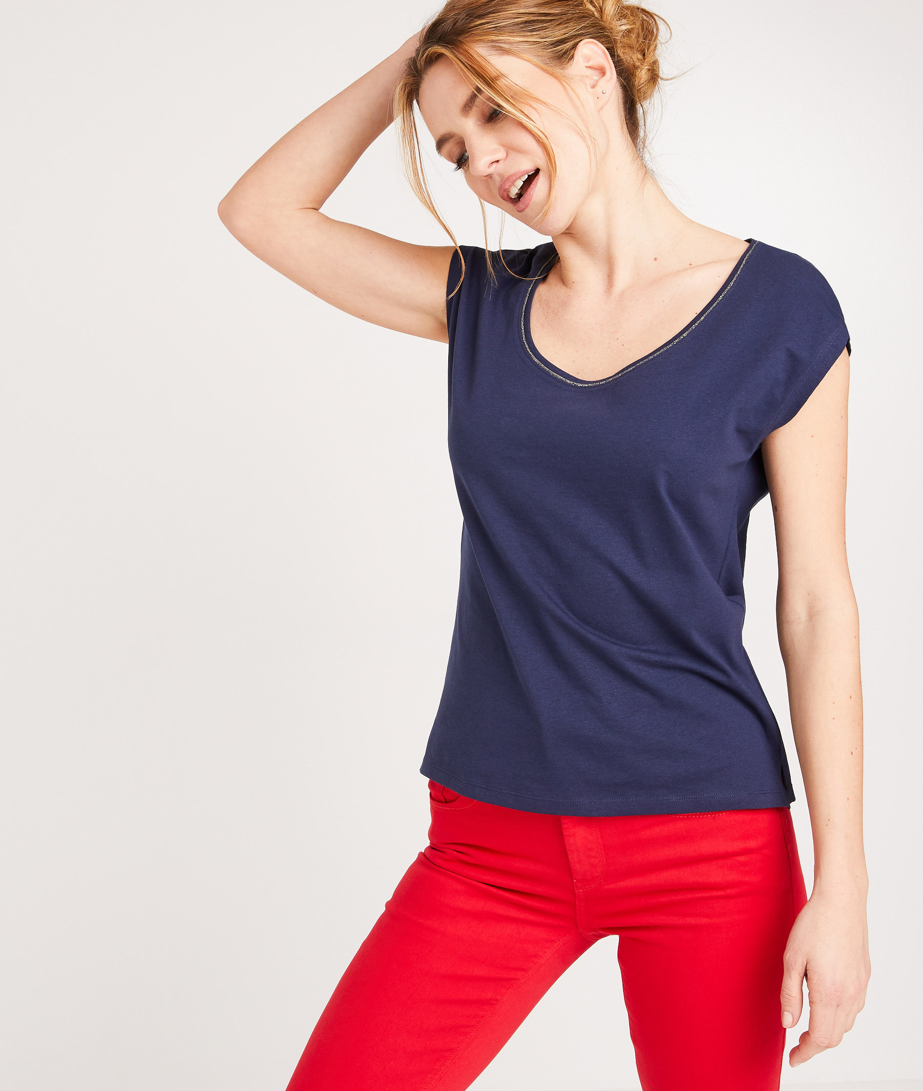 T-shirt en coton uni femme MARINE