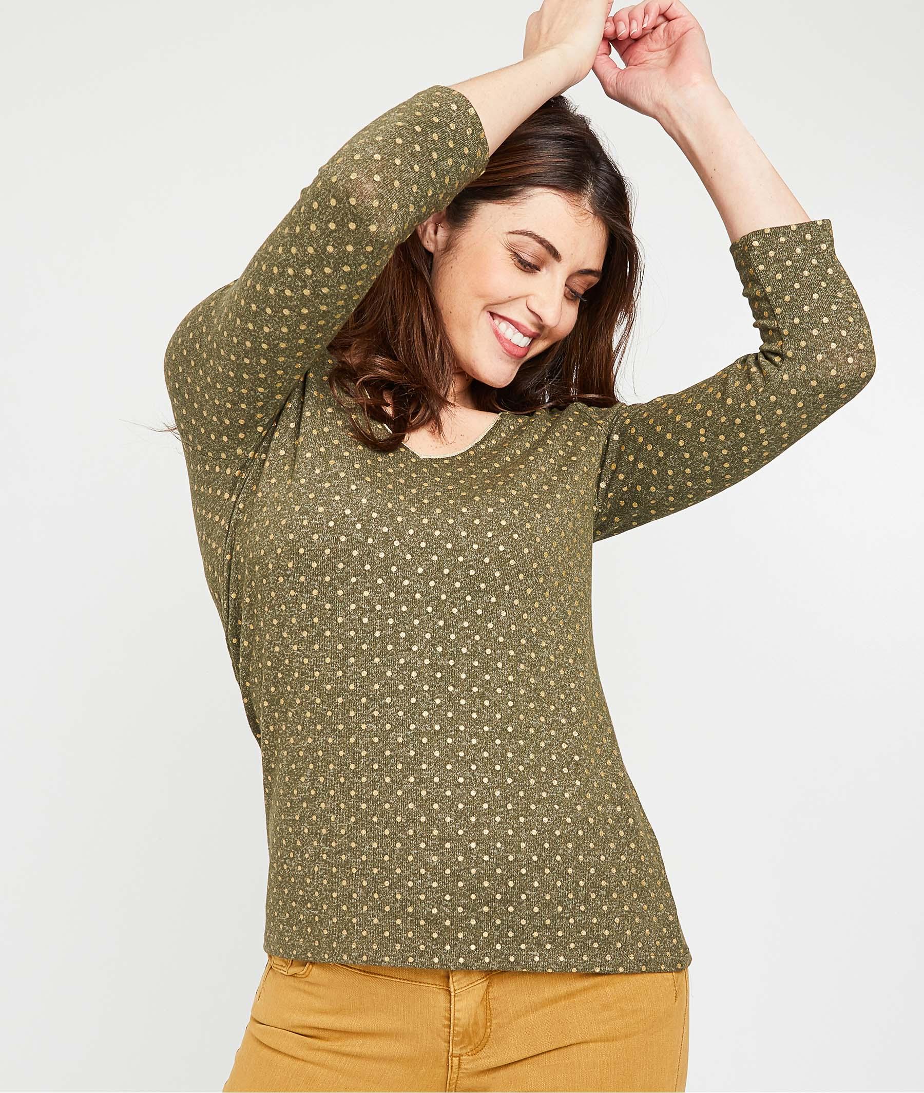 T-shirt kaki motif pois femme KAKI