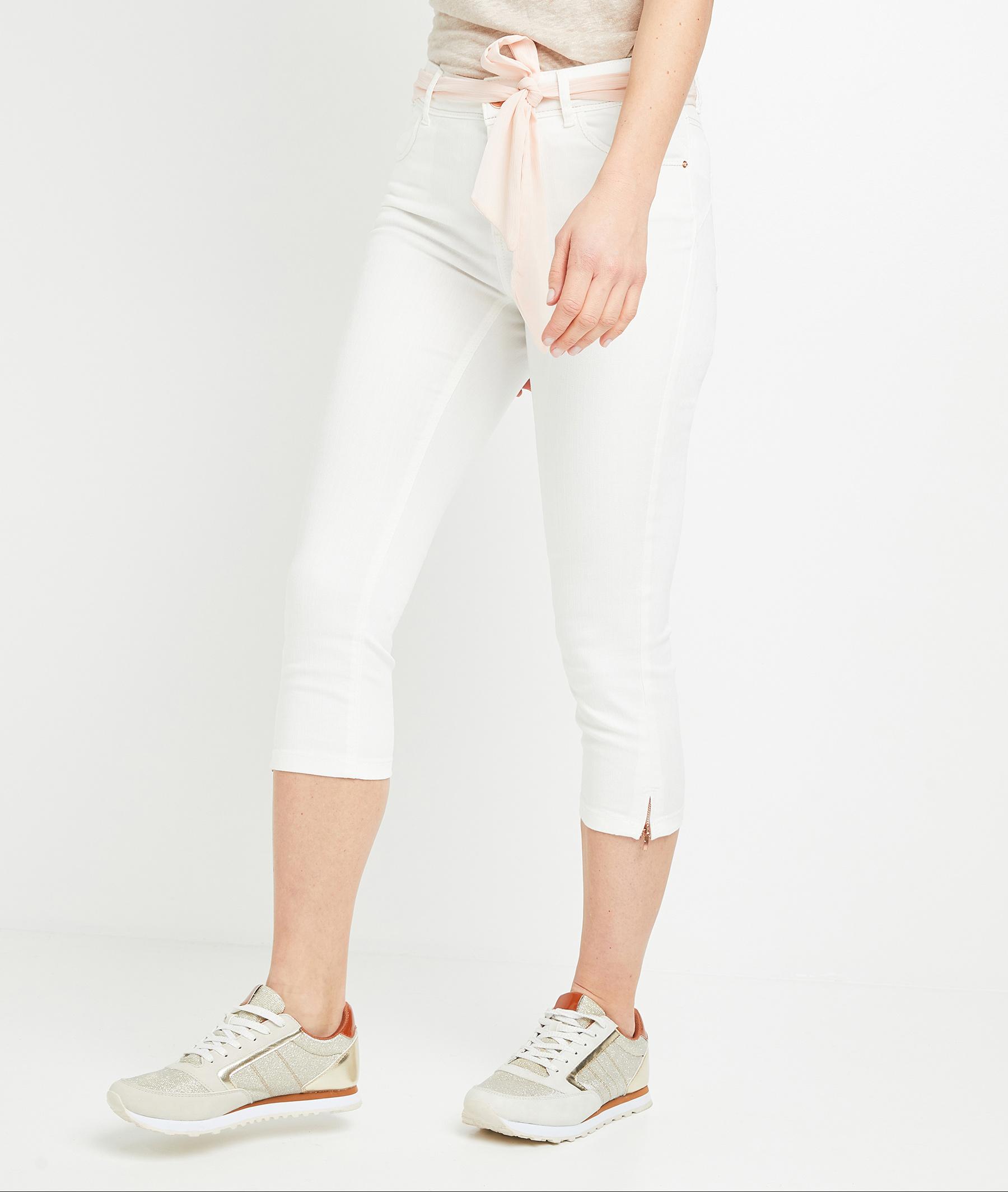 Corsaire en jean uni femme BLANC