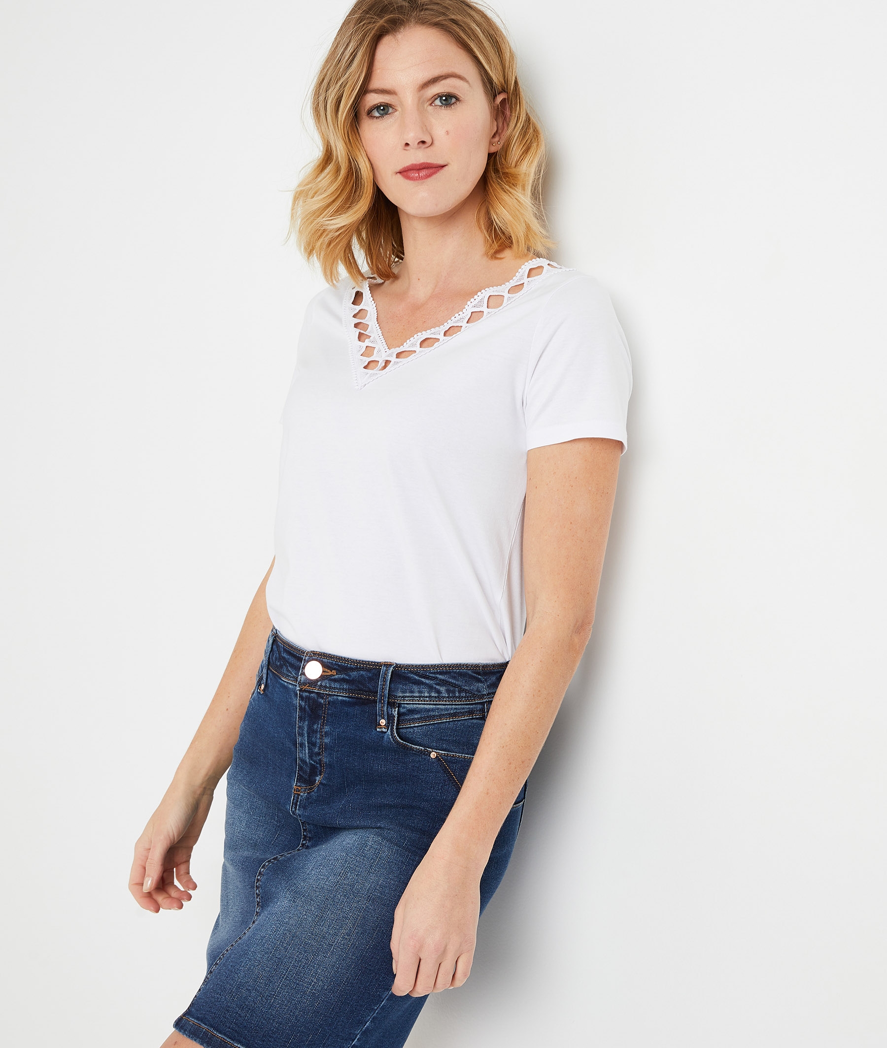 T-shirt uni col V femme BLANC