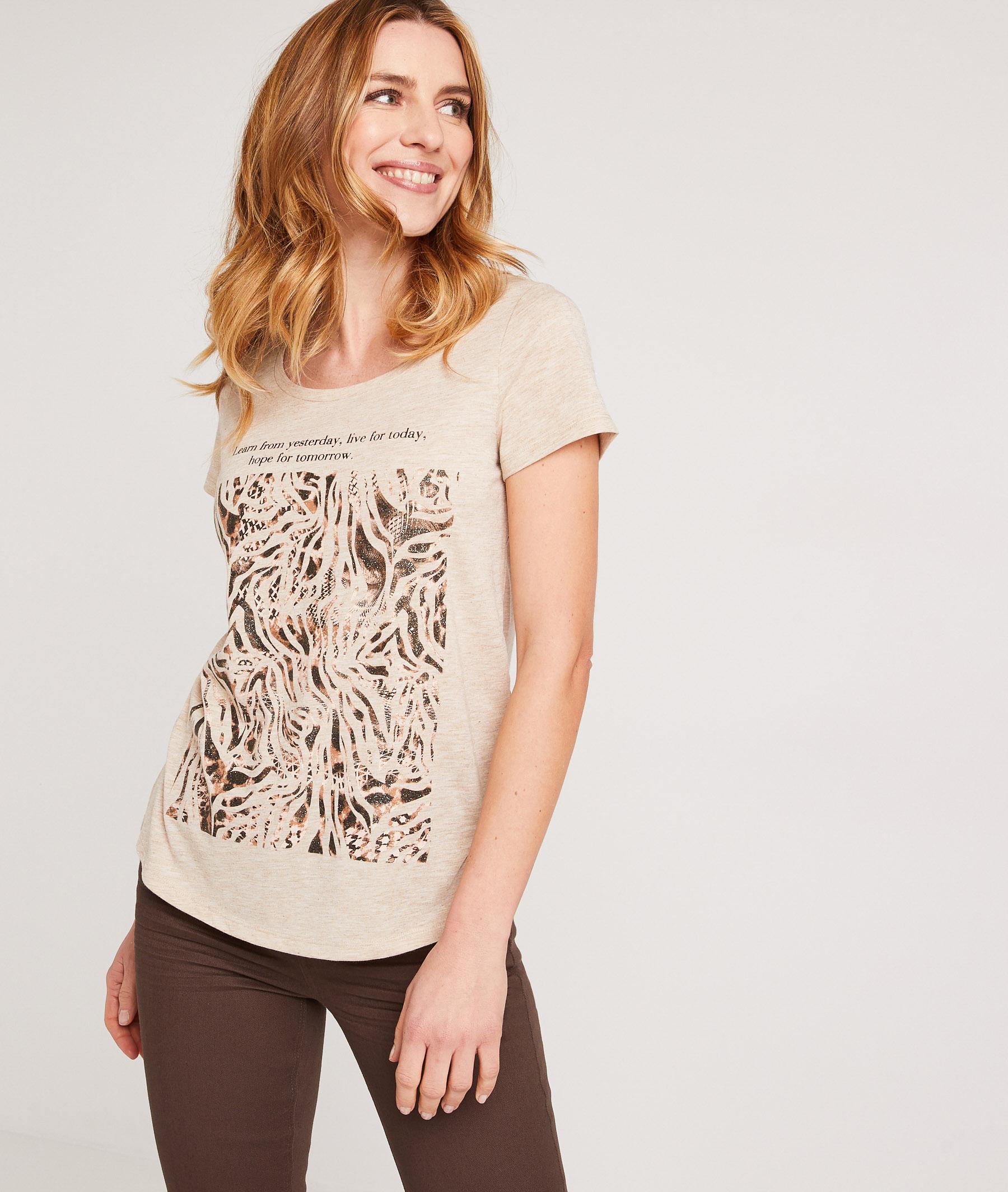 T-shirt print zèbre femme BEIGE