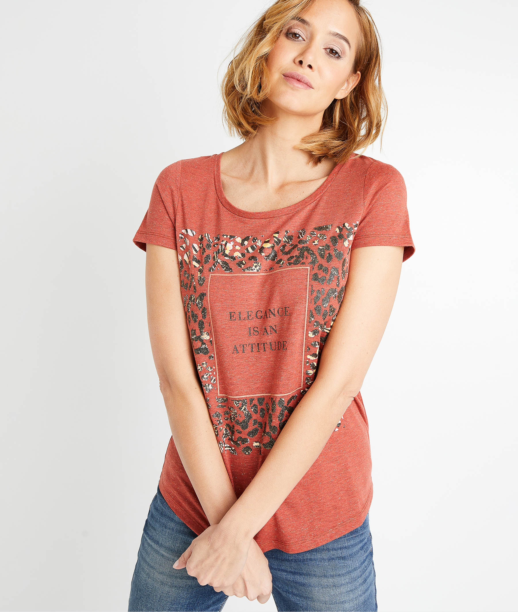 T-shirt terracotta à message femme TERRACOTTA