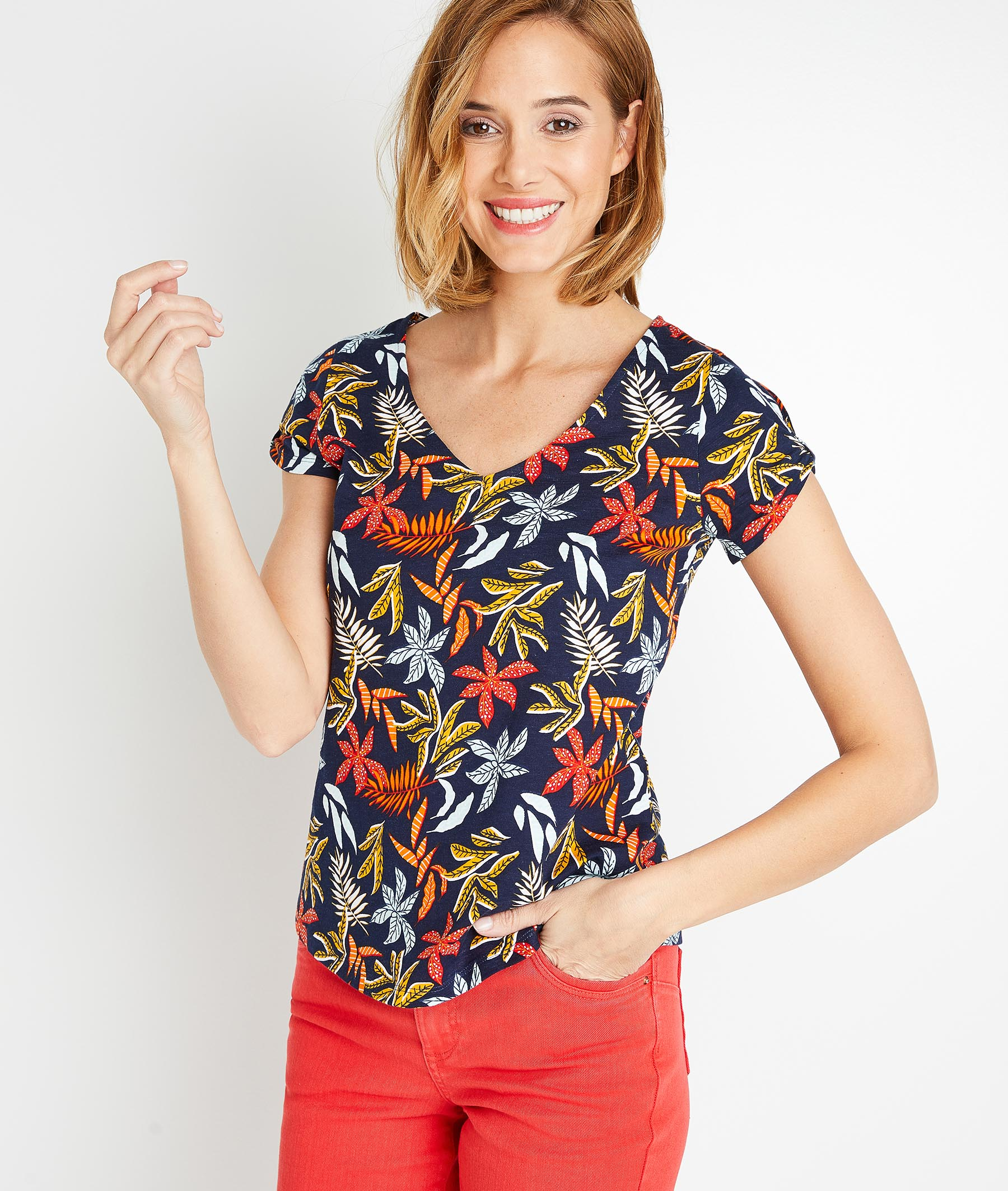 T-shirt imprimé coloré femme MARINE
