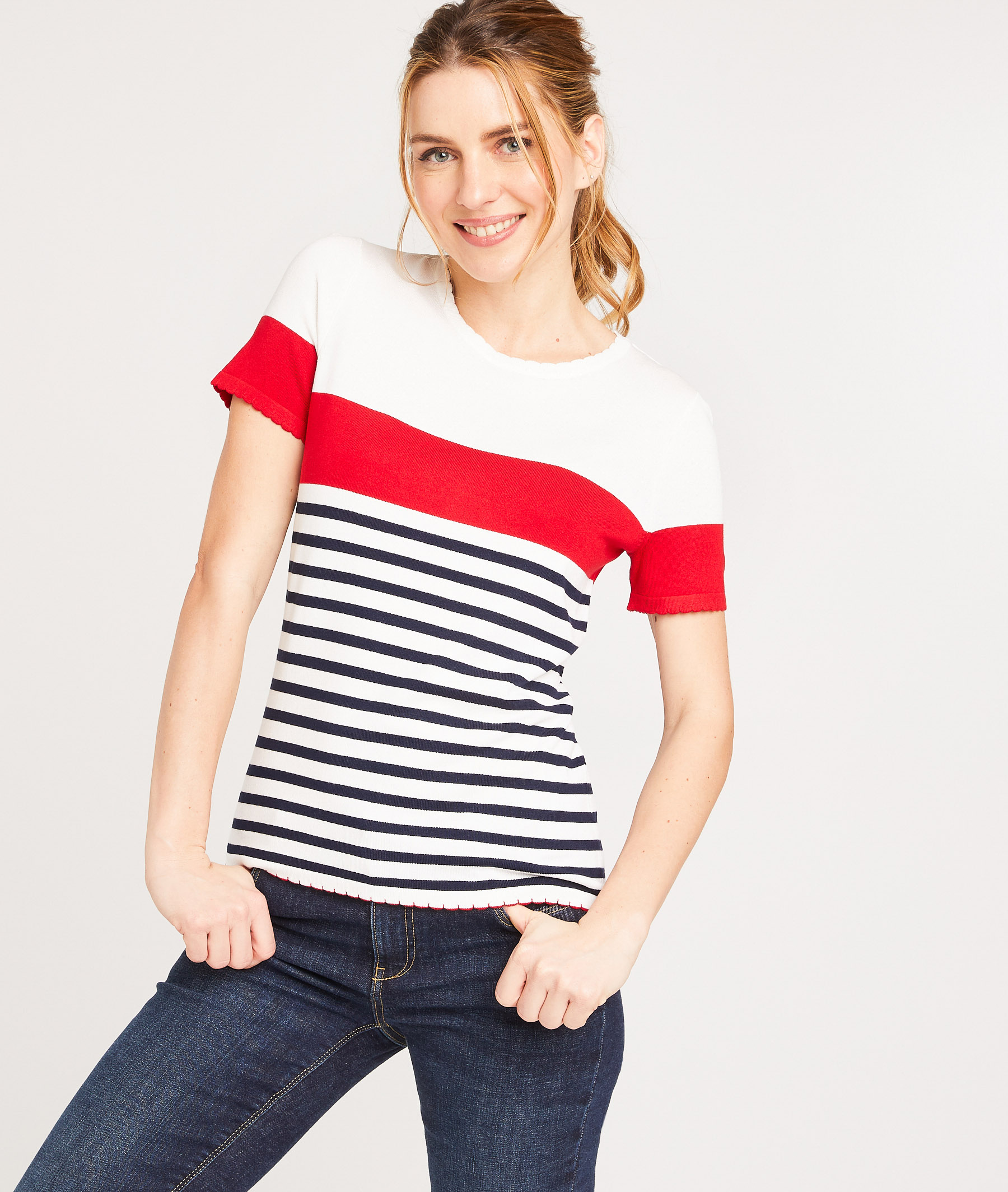 Pull manche courte rayé femme ROUGE
