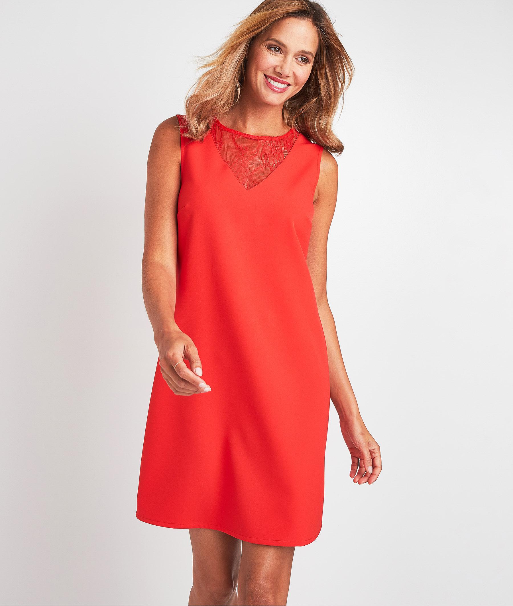 Robe rouge à dentelle femme ROUGE