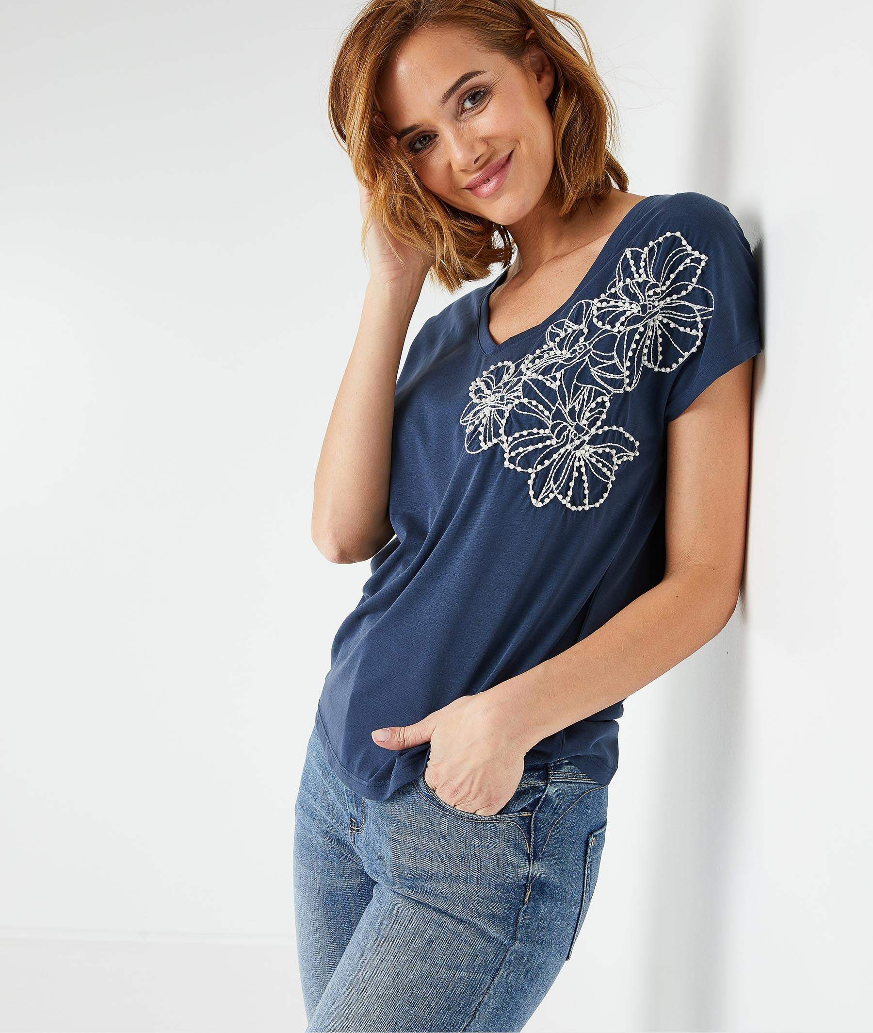T-shirt marine brodé femme MARINE