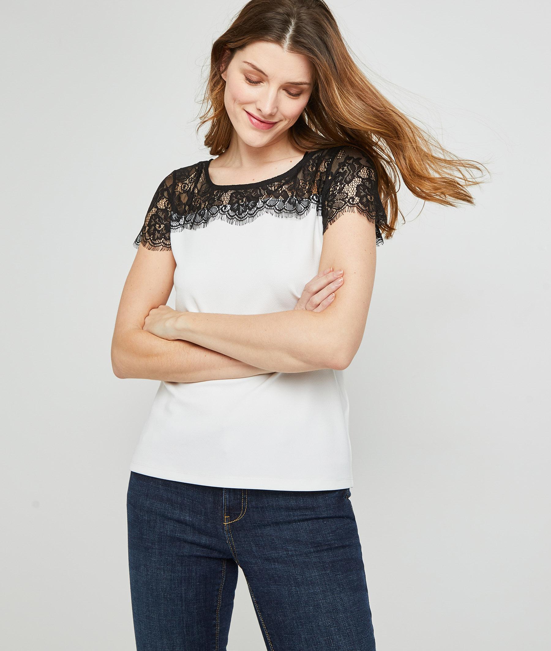 T-shirt bicolore à dentelle femme ECRU