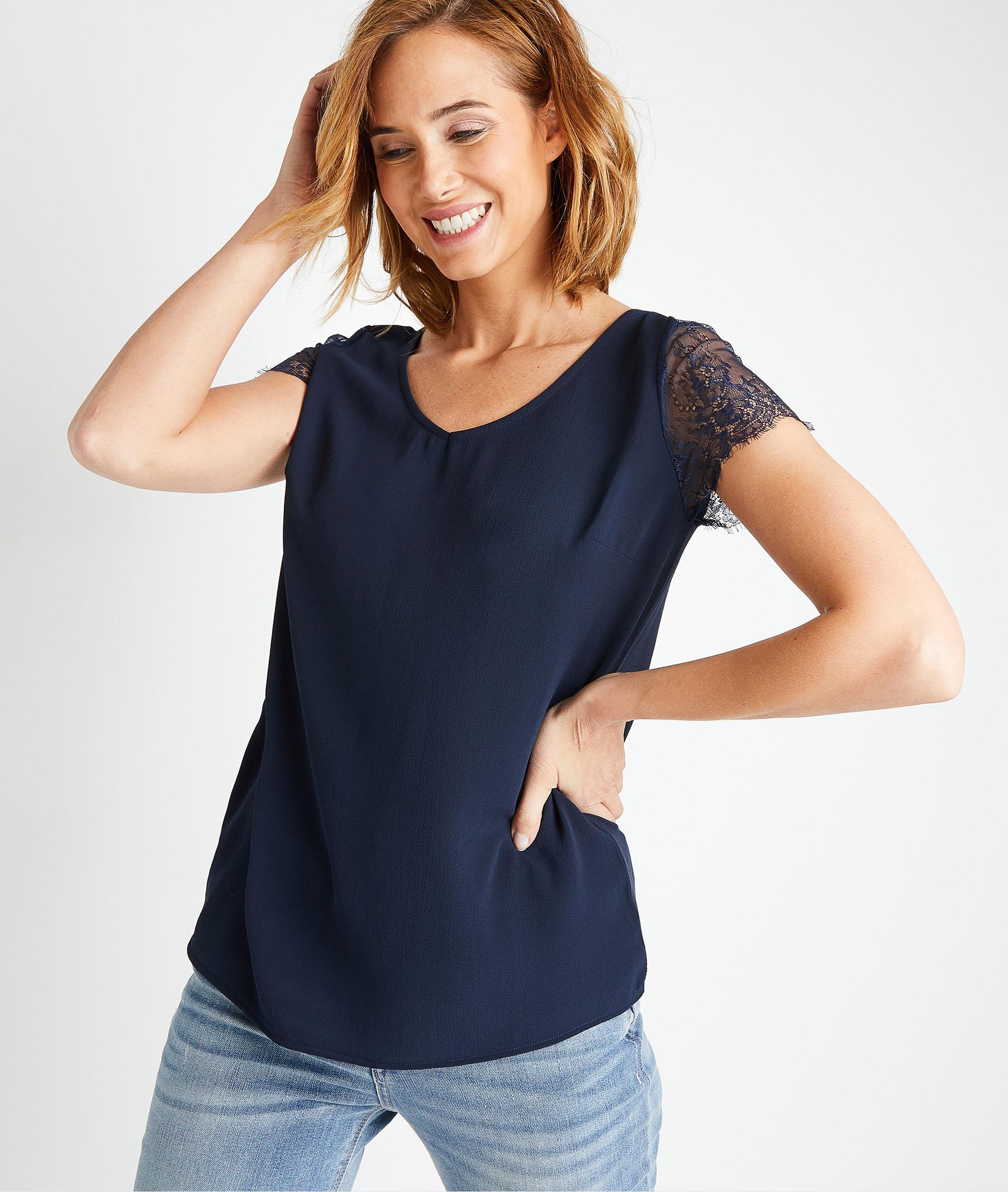 T-shirt en coton avec dentelle femme MARINE