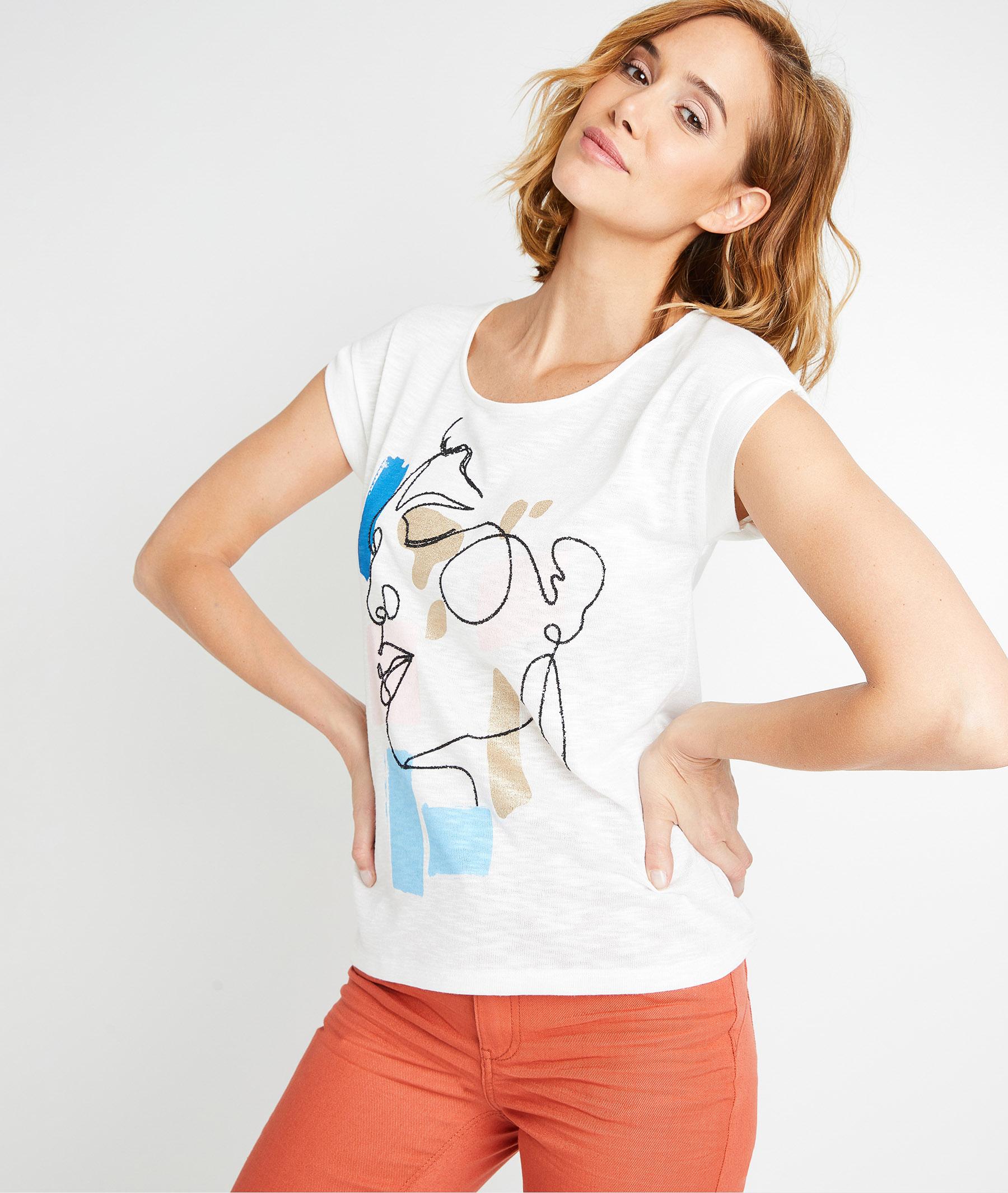T-shirt blanc print placé femme BLANC CASSE