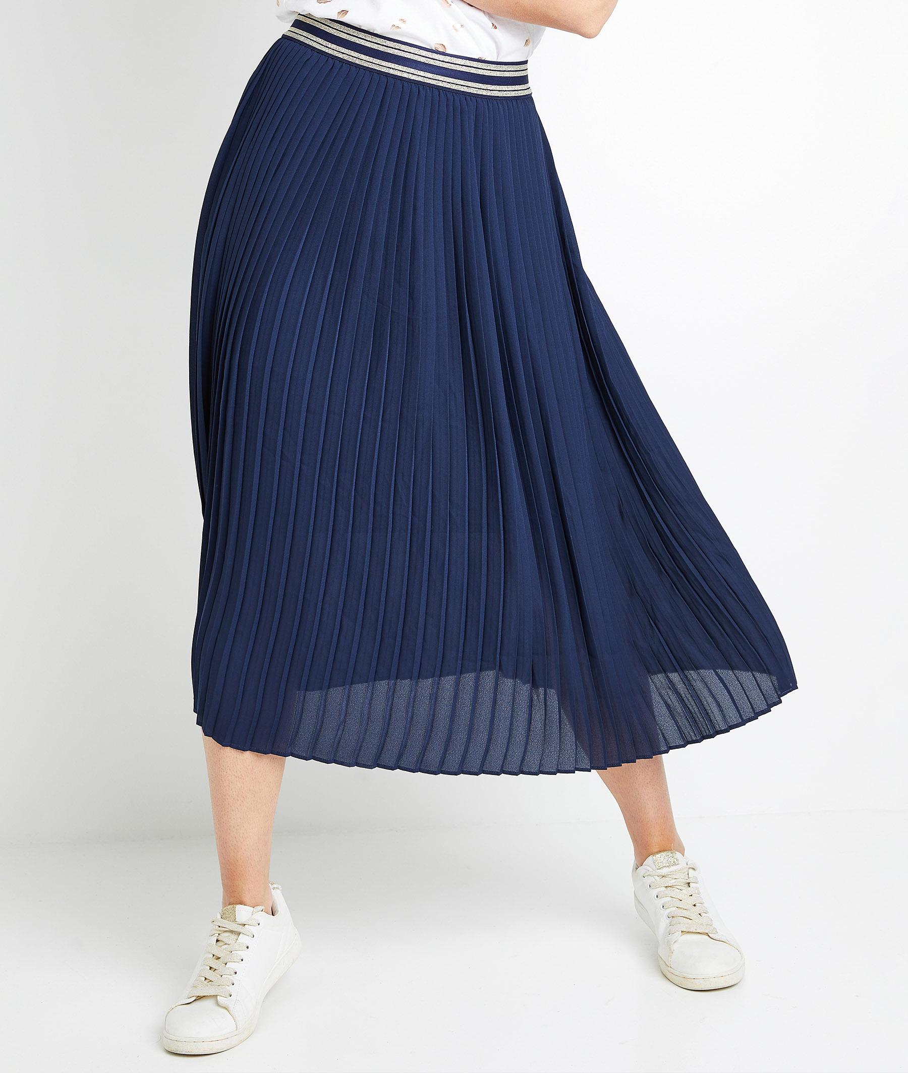 Jupe plissée marine femme MARINE