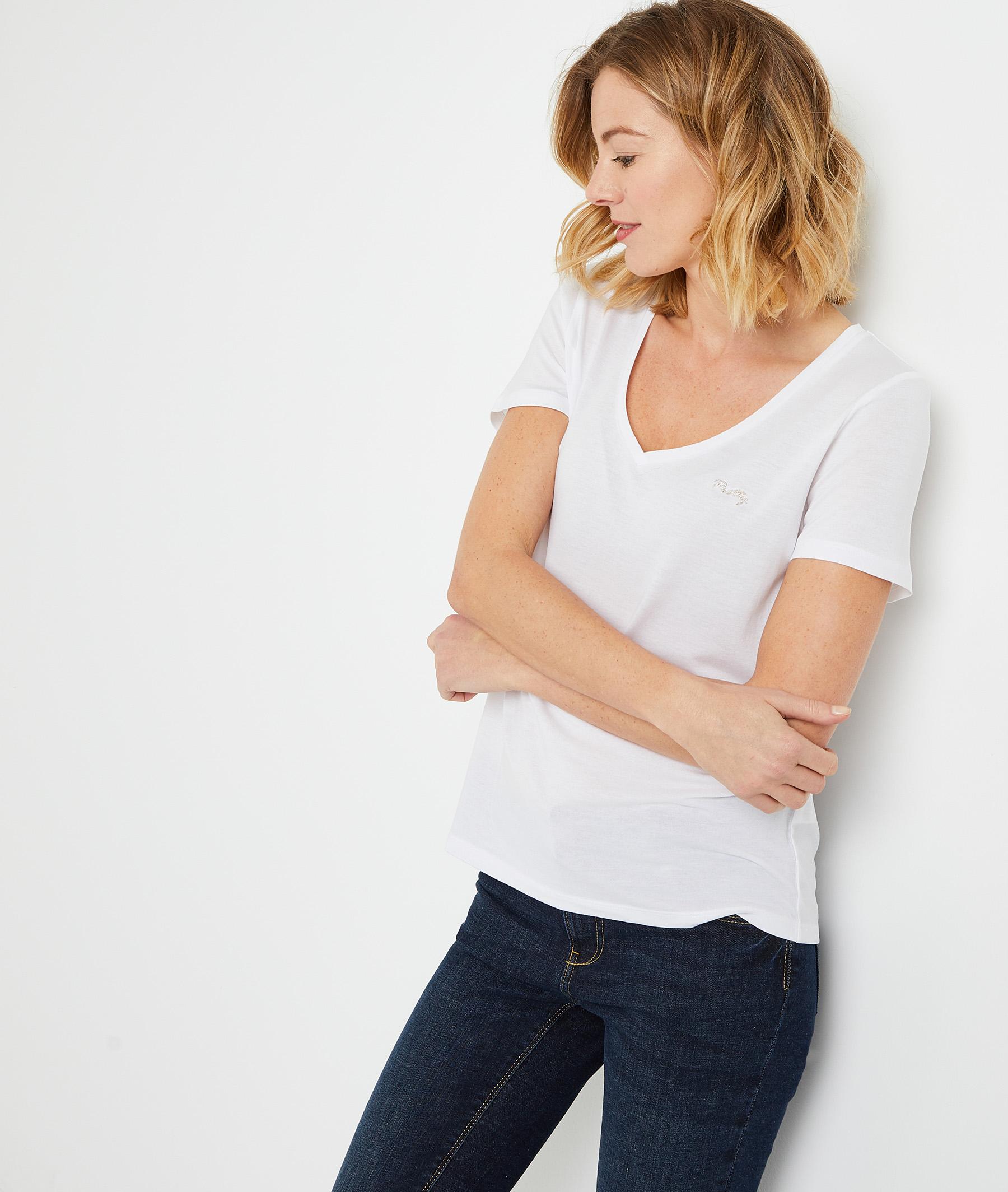 T-shirt en lyocell uni femme BLANC