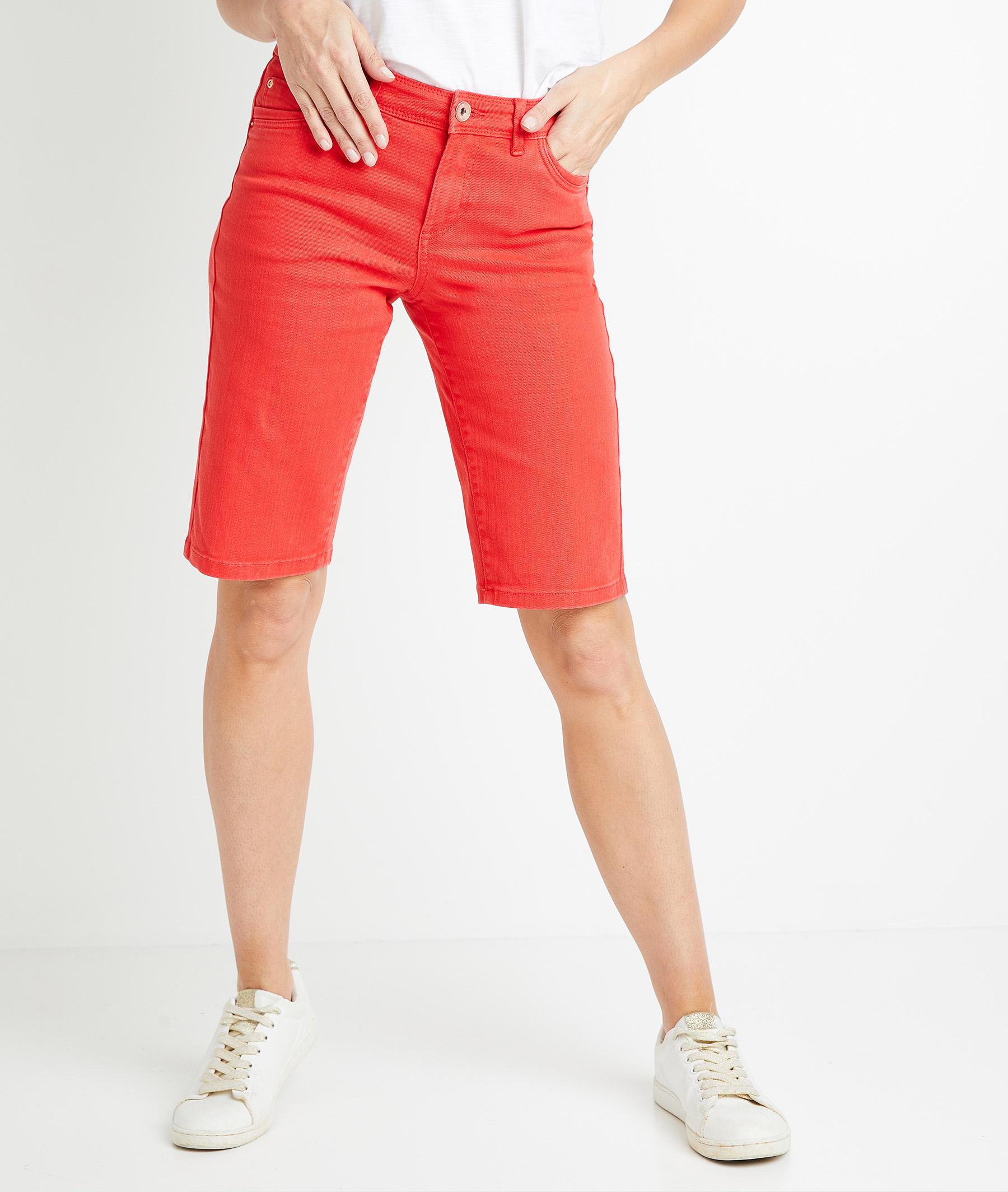Bermuda en jean de couleur femme COQUELICOT