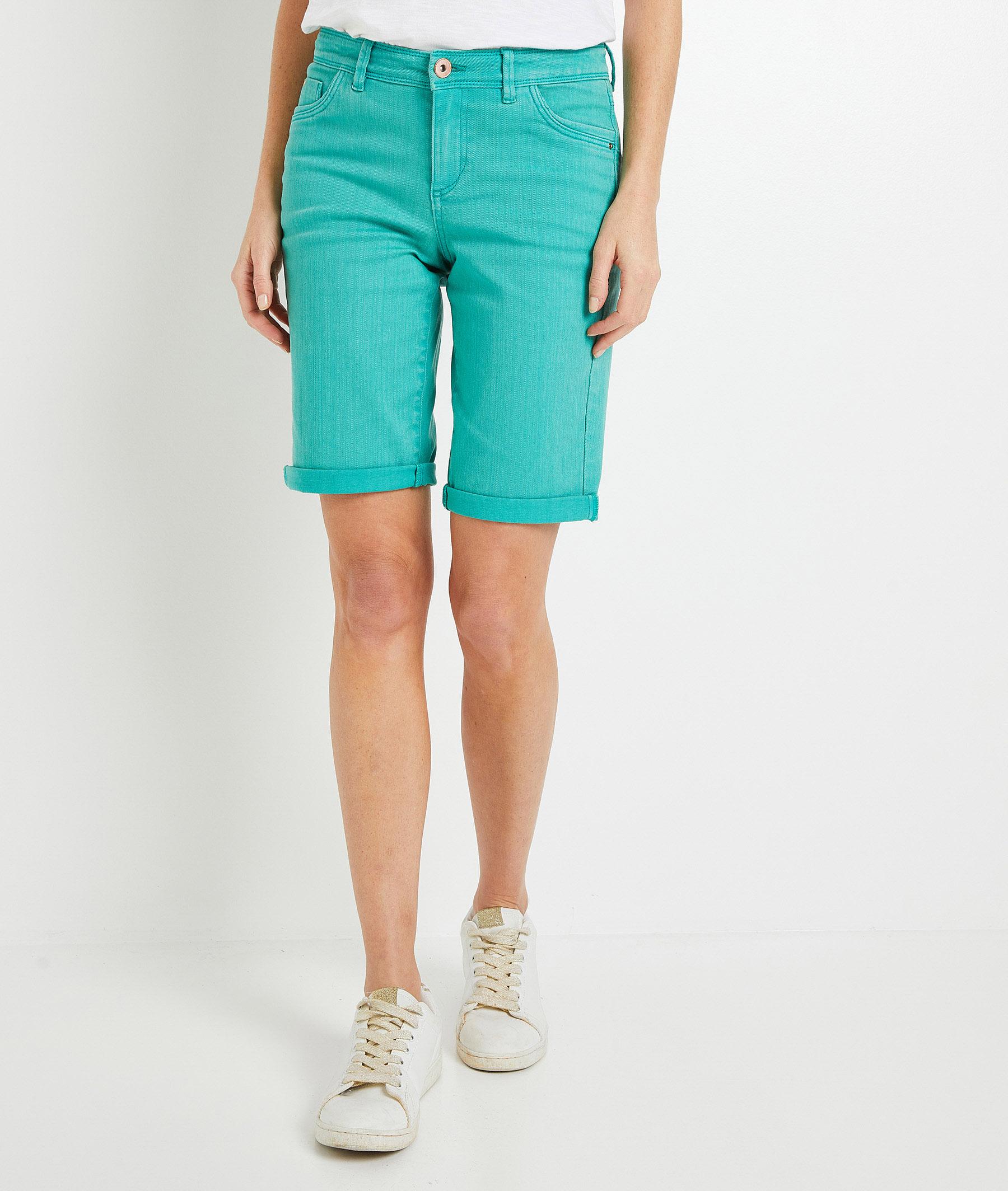 Bermuda en jean de couleur femme VERT