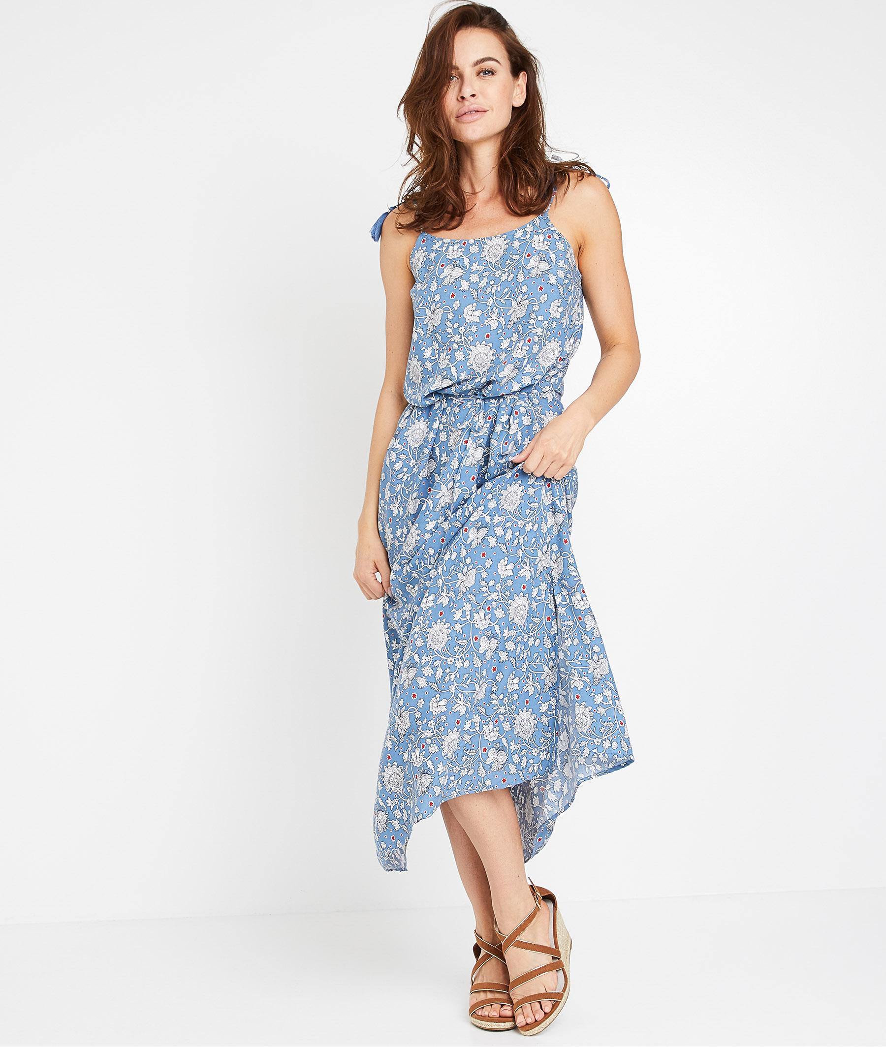Robe longue bleue et fleurie femme BLEU