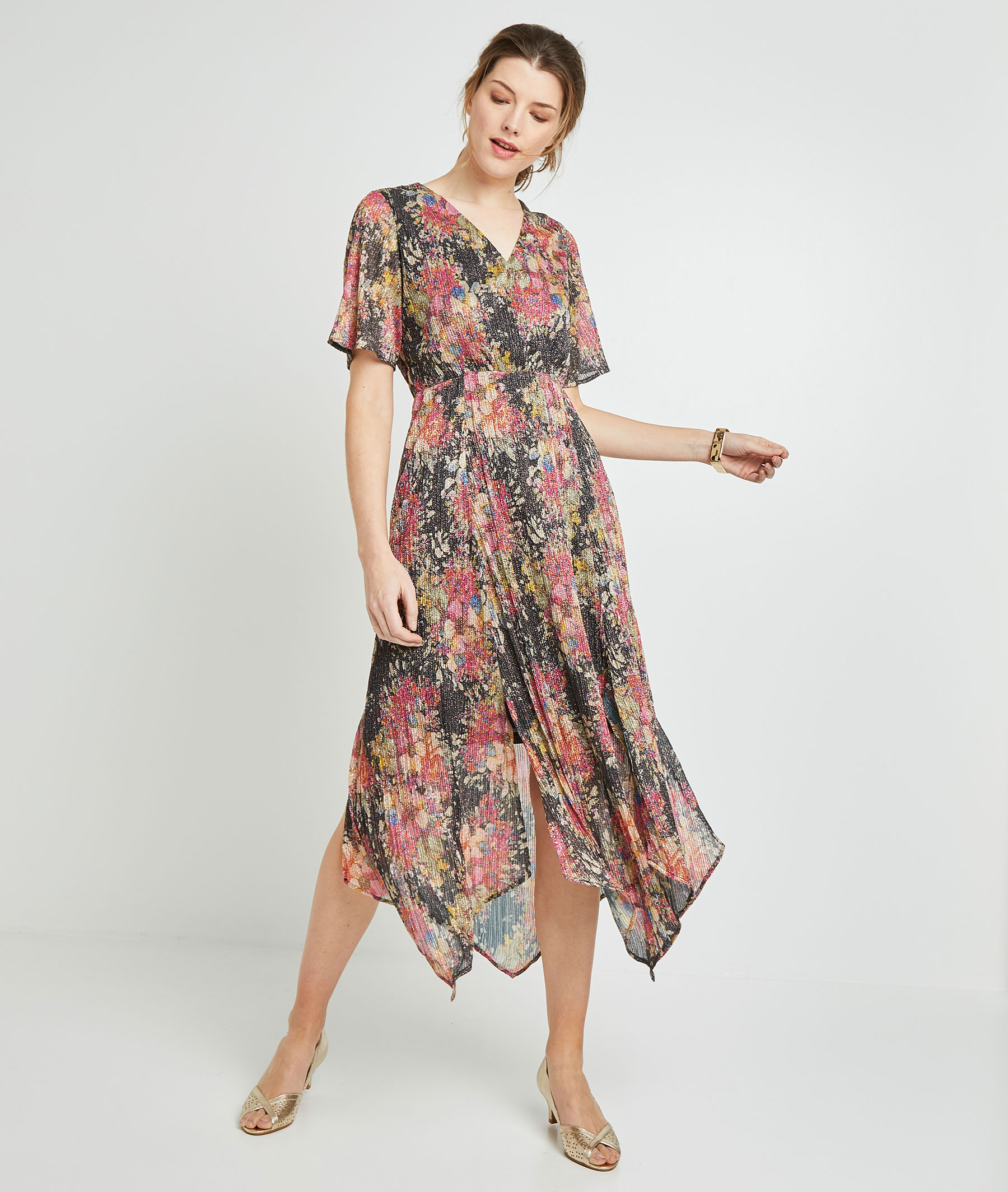 Robe longue cache-coeur femme MULTICOLORE