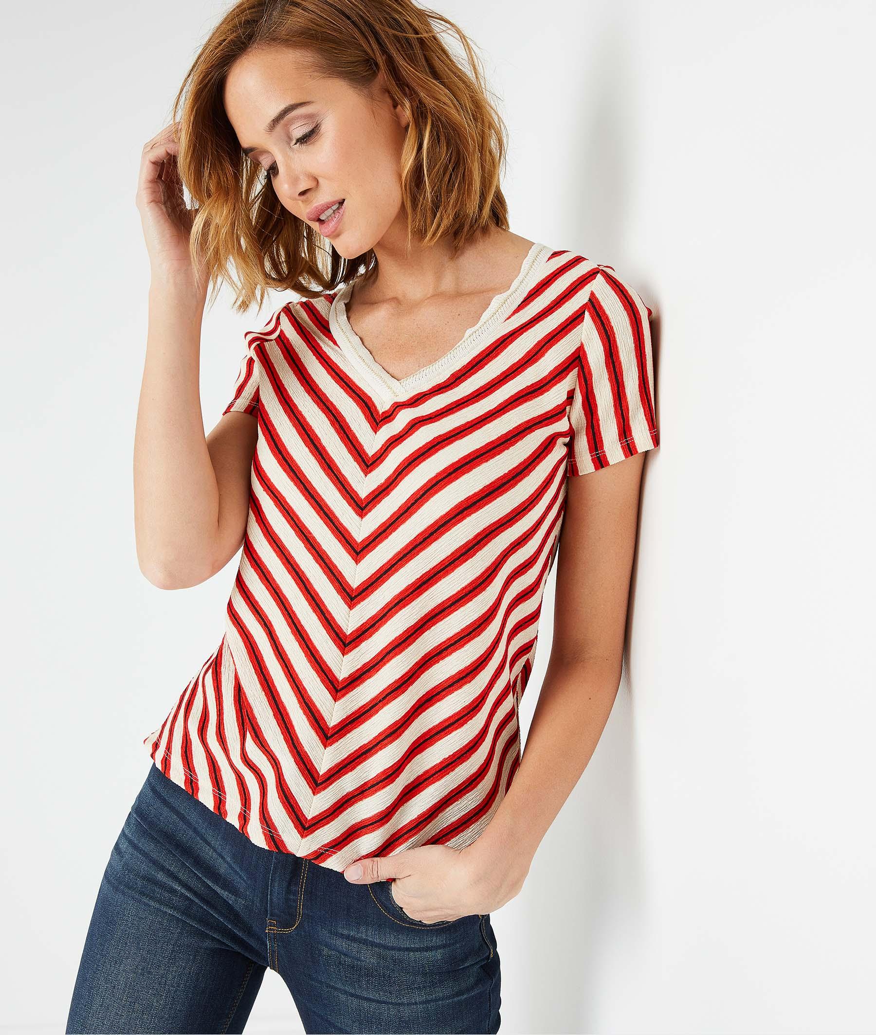 T-shirt à rayures femme ECRU
