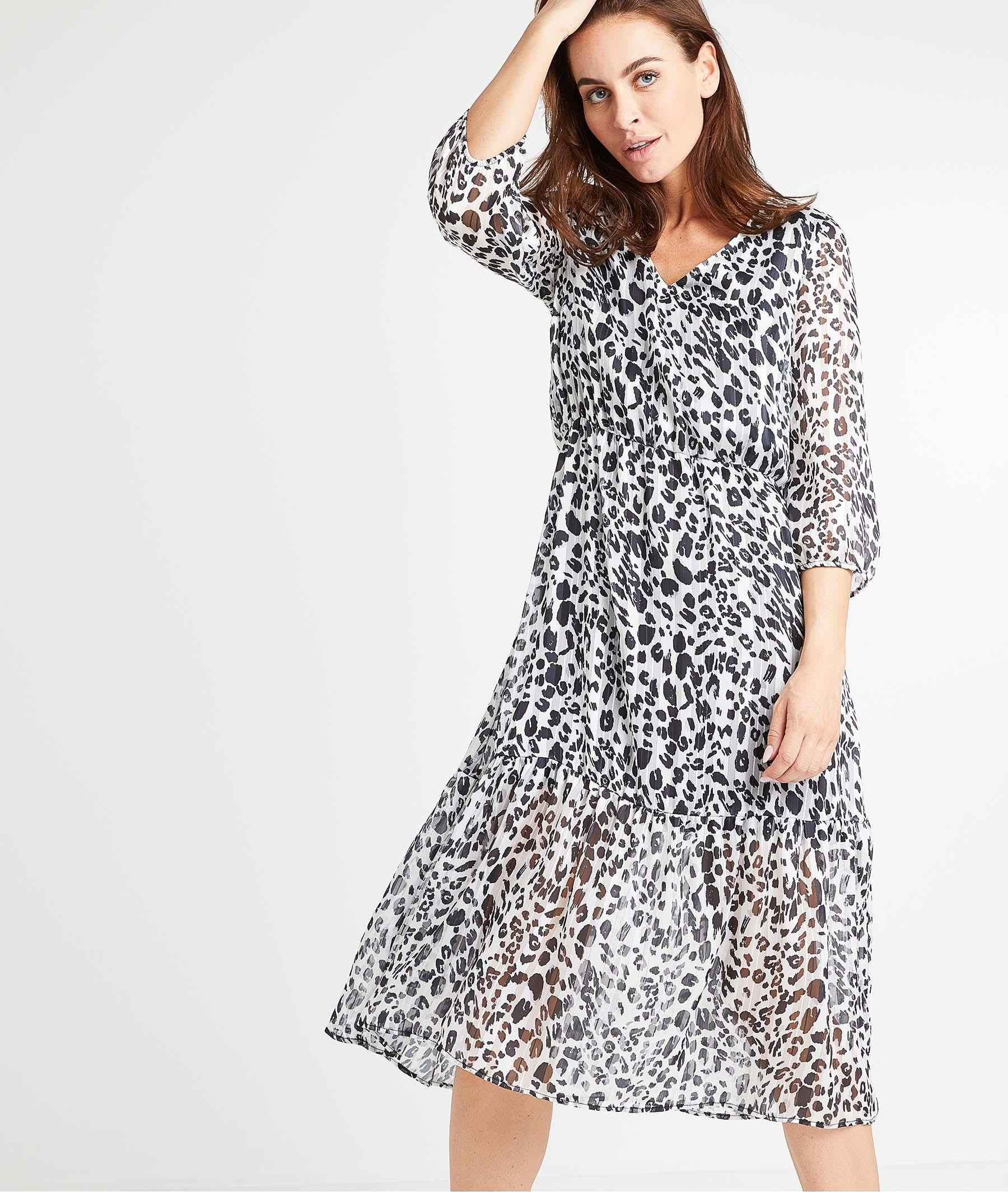 Robe mi-longue léopard femme NOIR