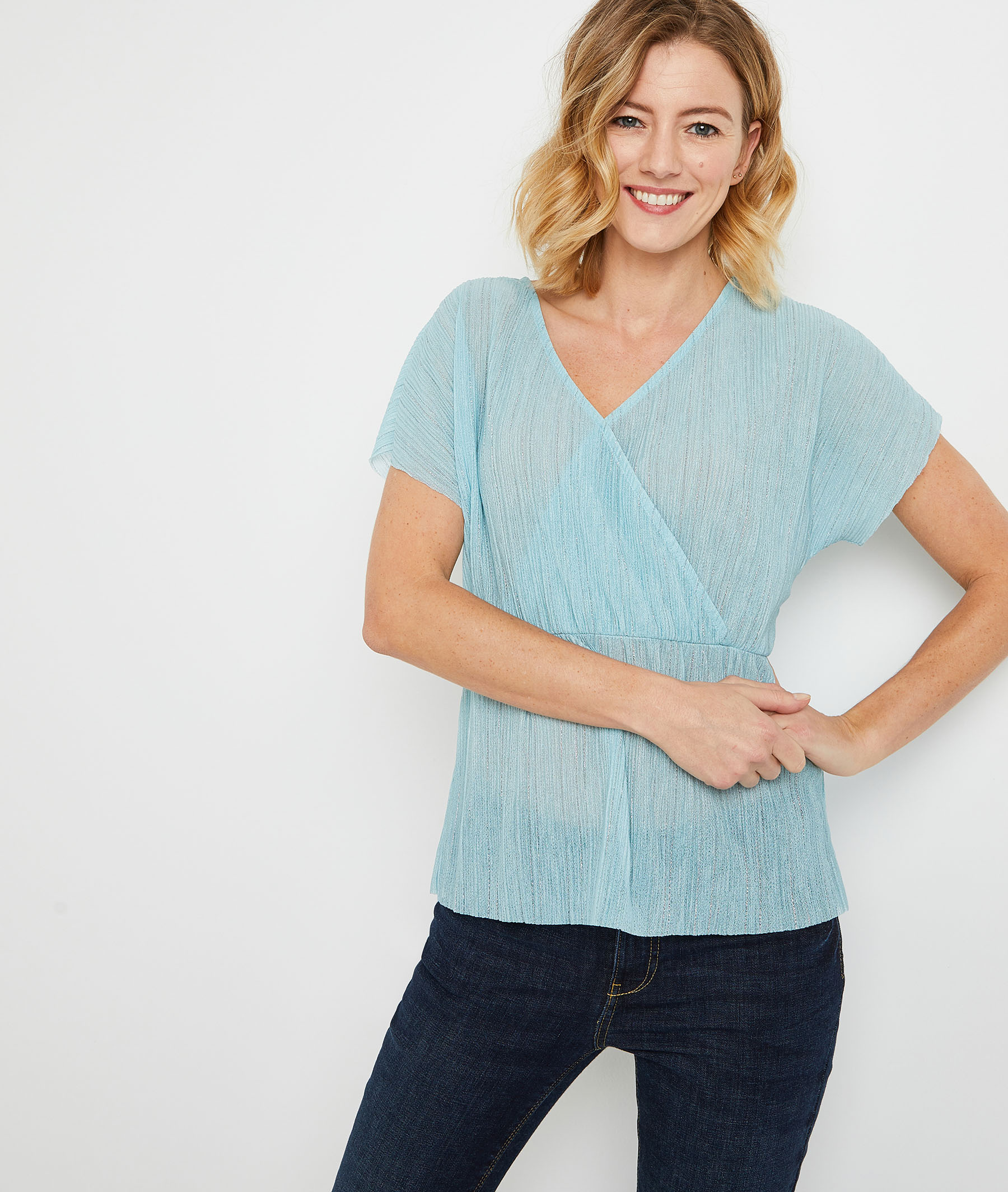 Top cache-coeur turquoise femme TURQUOISE