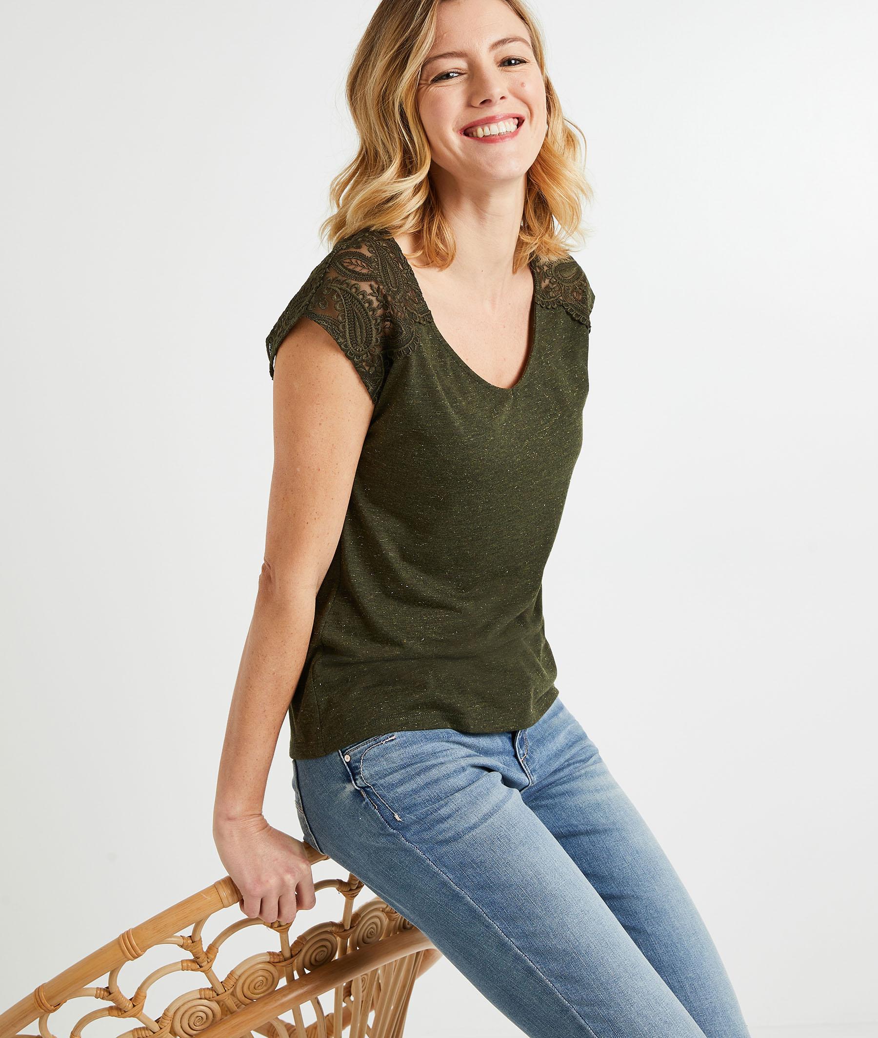 T-shirt uni brodé femme KAKI