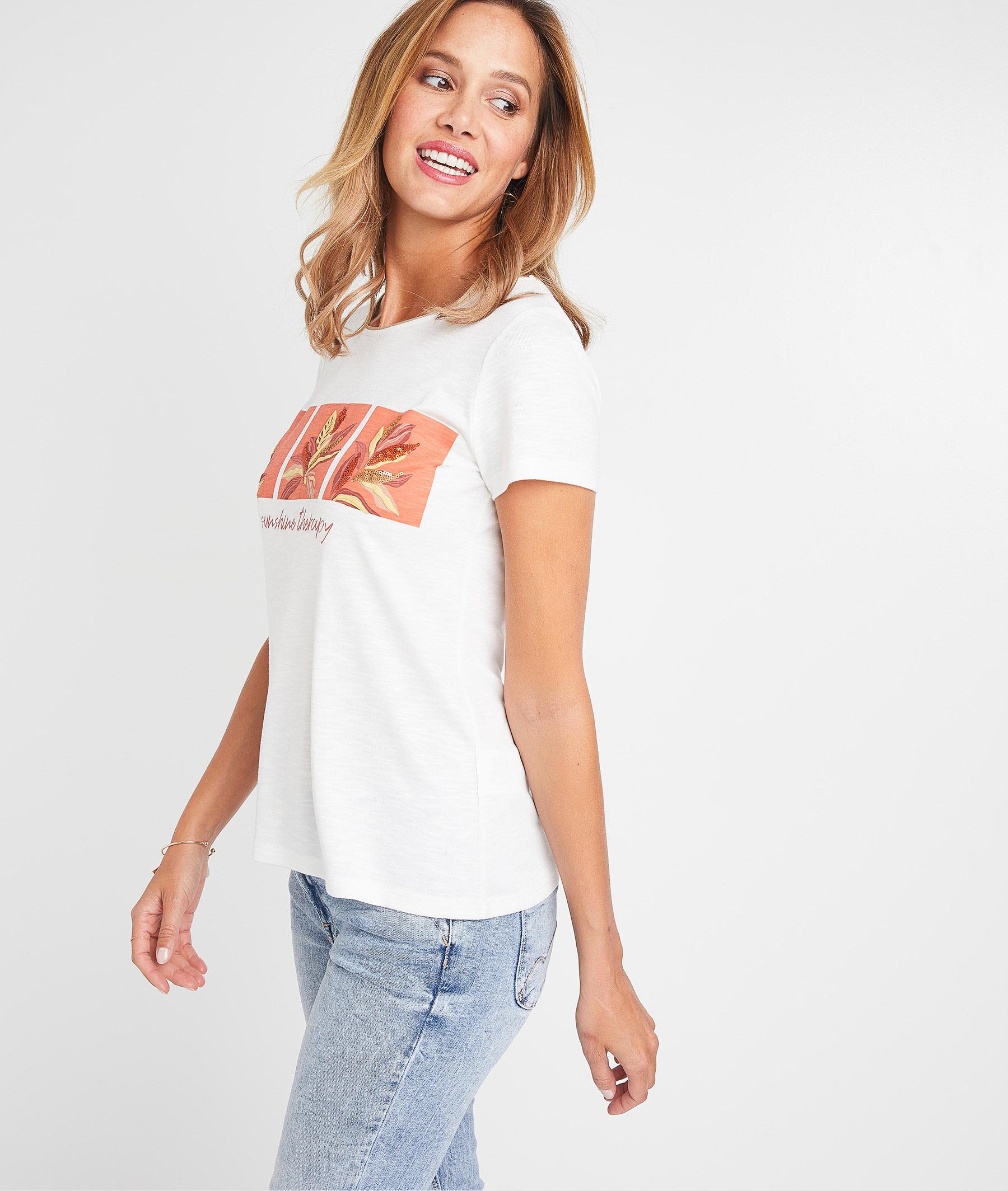 T-shirt blanc avec print femme BLANC CASSE