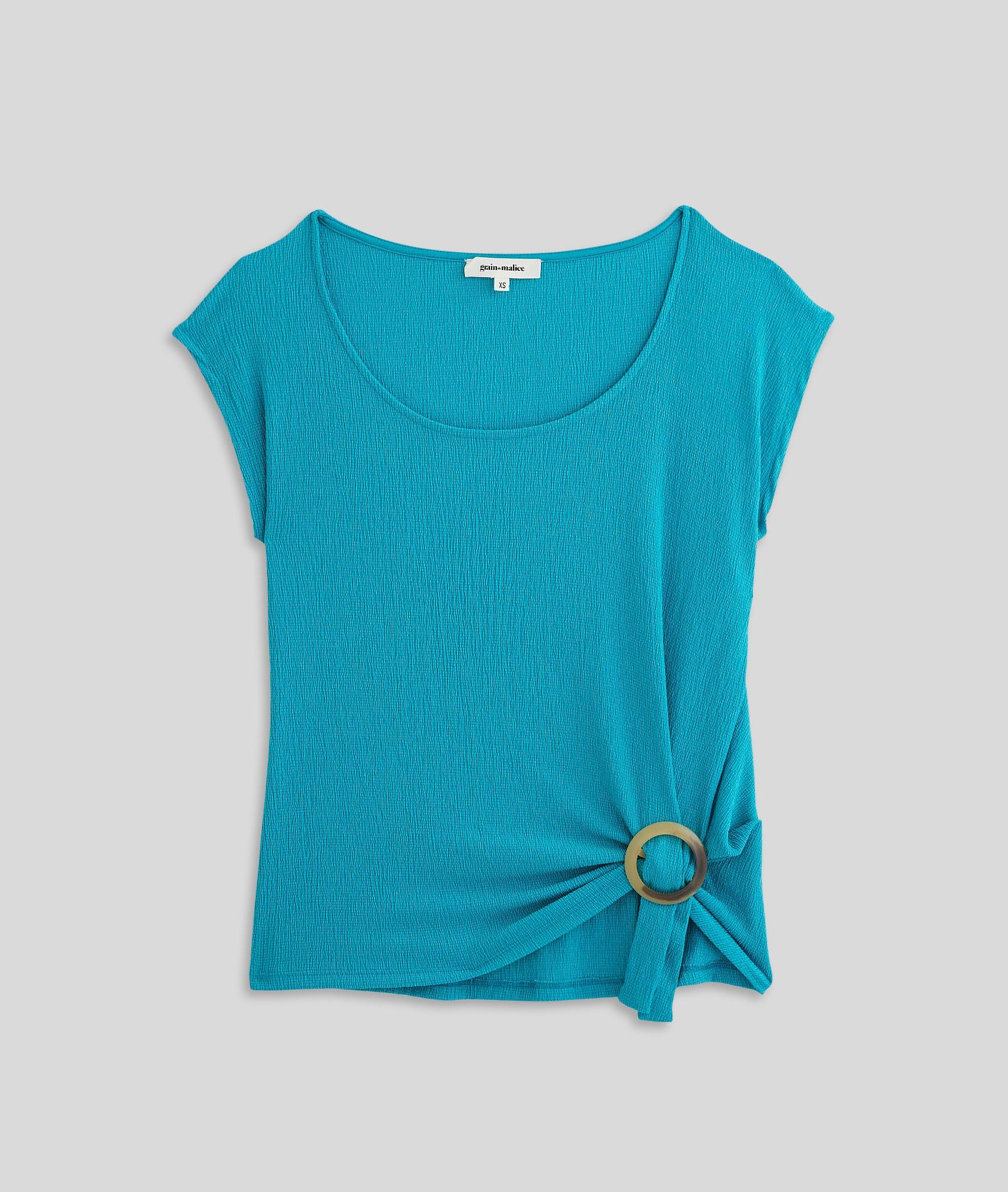 T-shirt maille froissée et boucle femme TURQUOISE