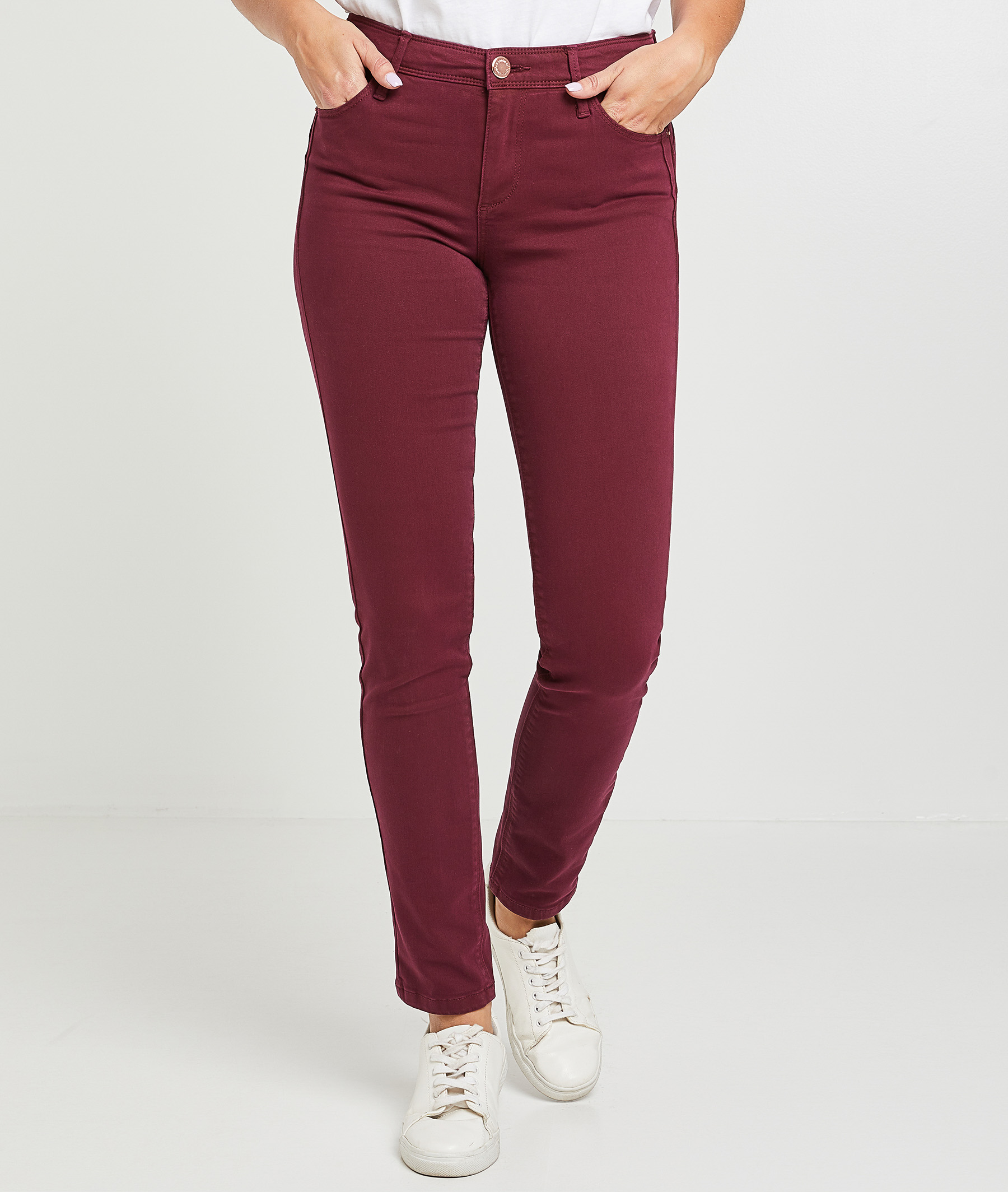 Pantalon flim push up coloré femme GRENAT