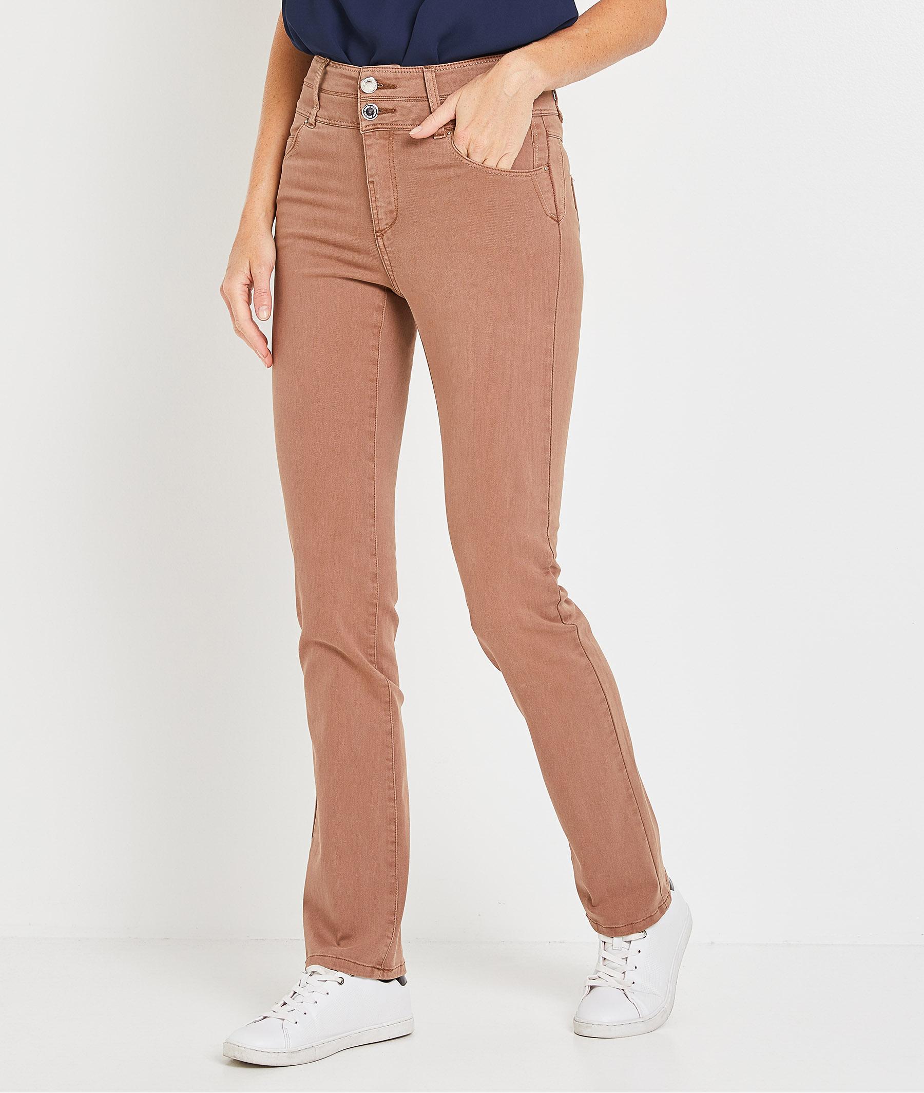 Pantalon droit taille haute uni femme CAFE
