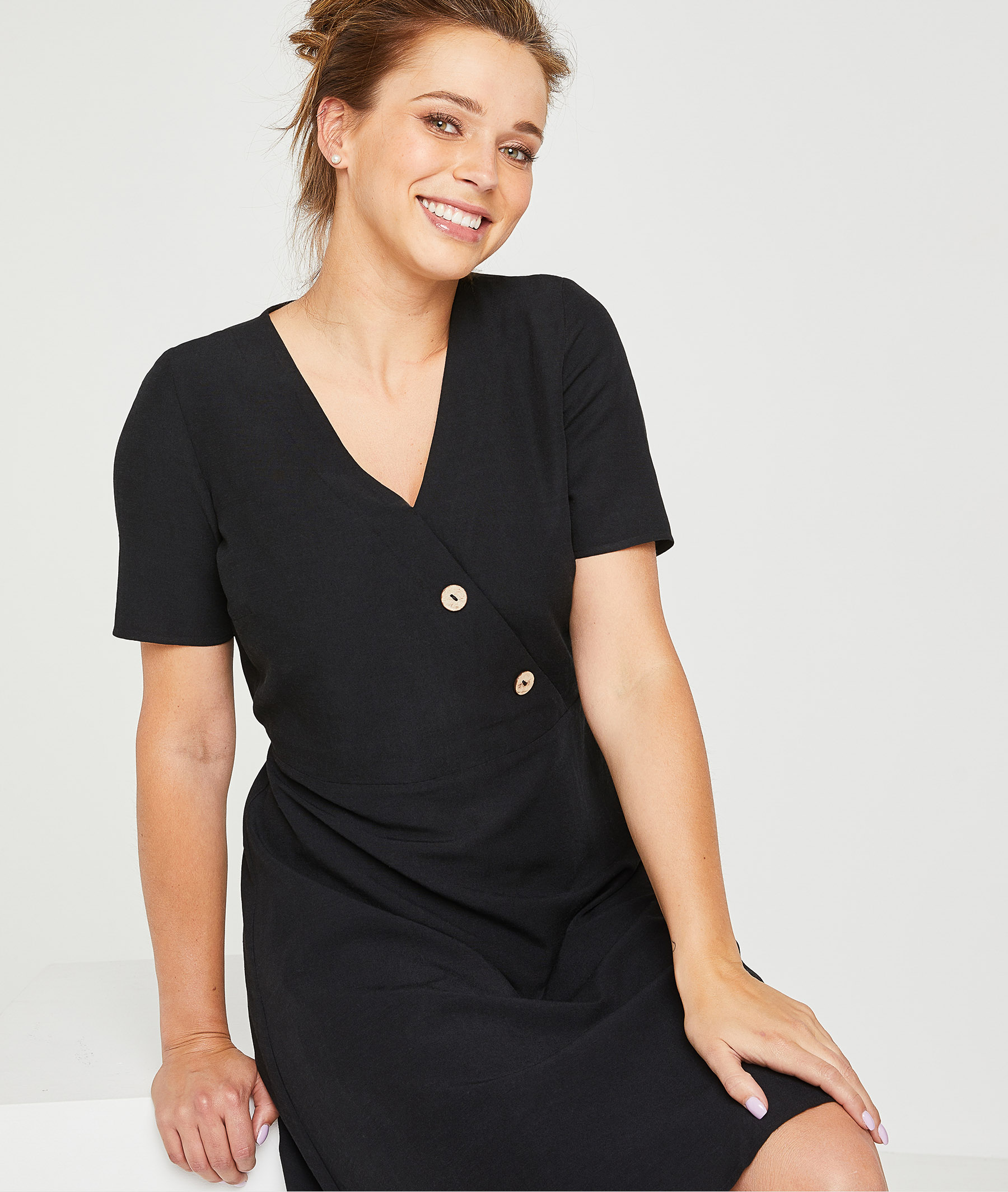 Robe noire courte femme NOIR