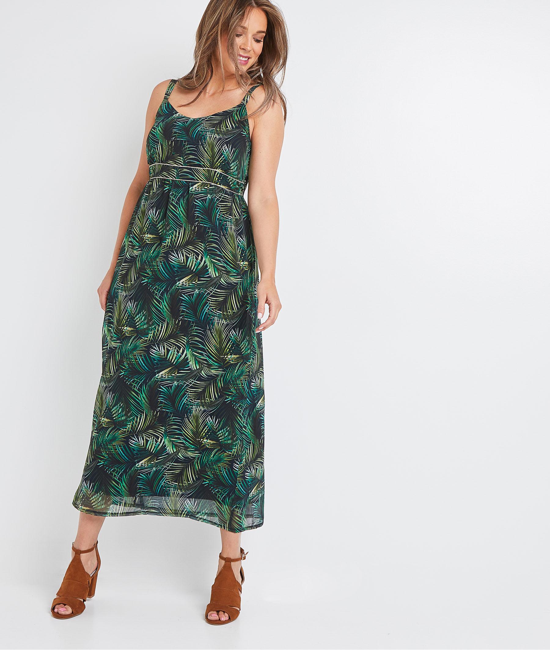 Robe longue imprimé tropical femme VERT