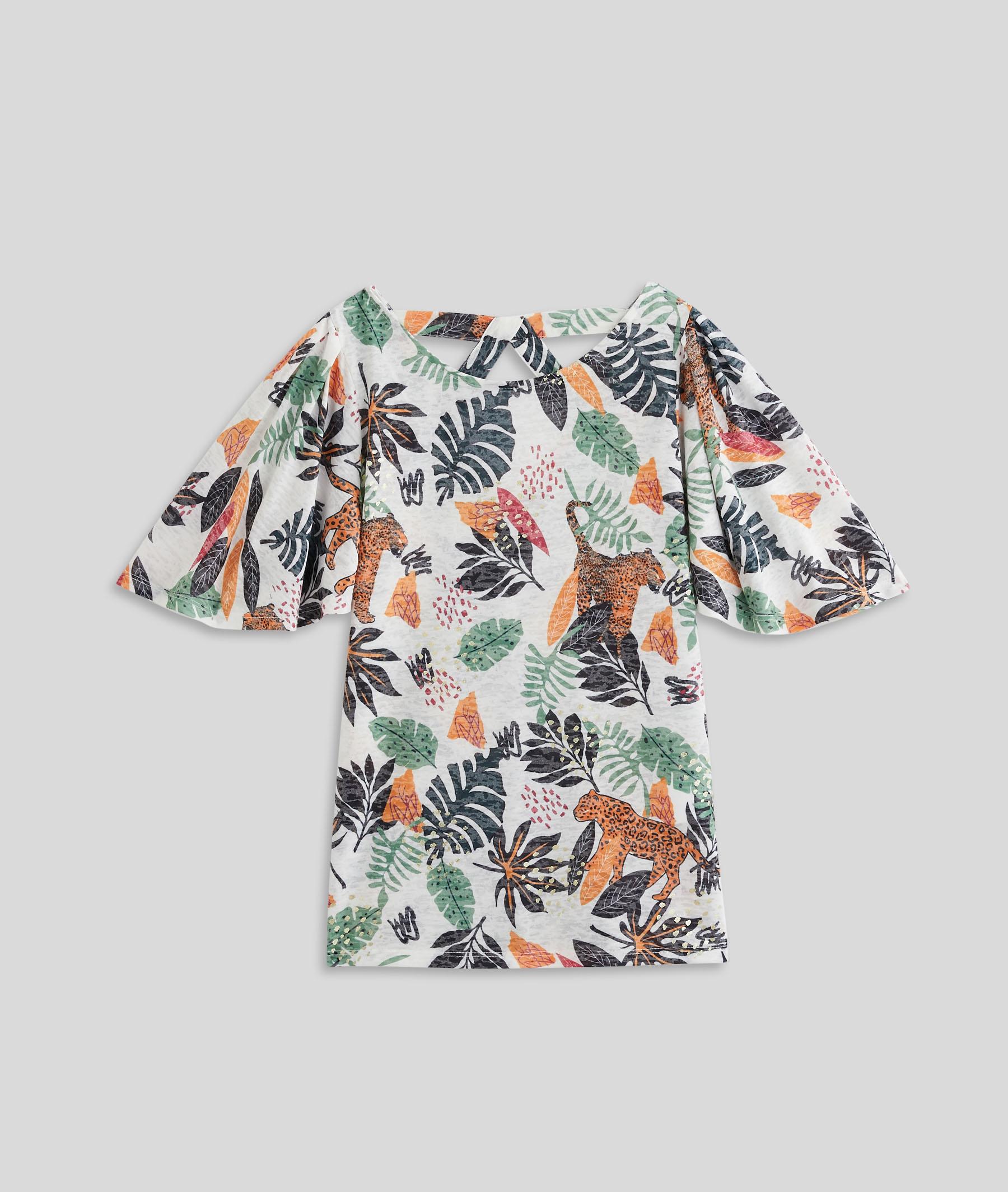 T-shirt imprimé manches coudes femme BLANC