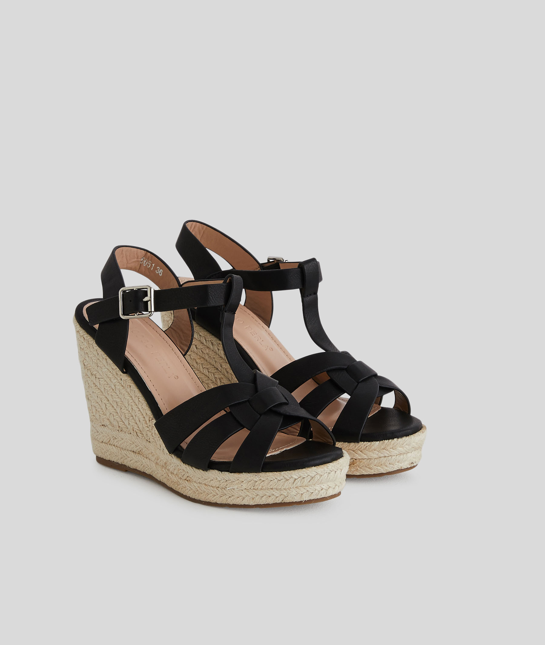 Sandales compensées femme NOIR