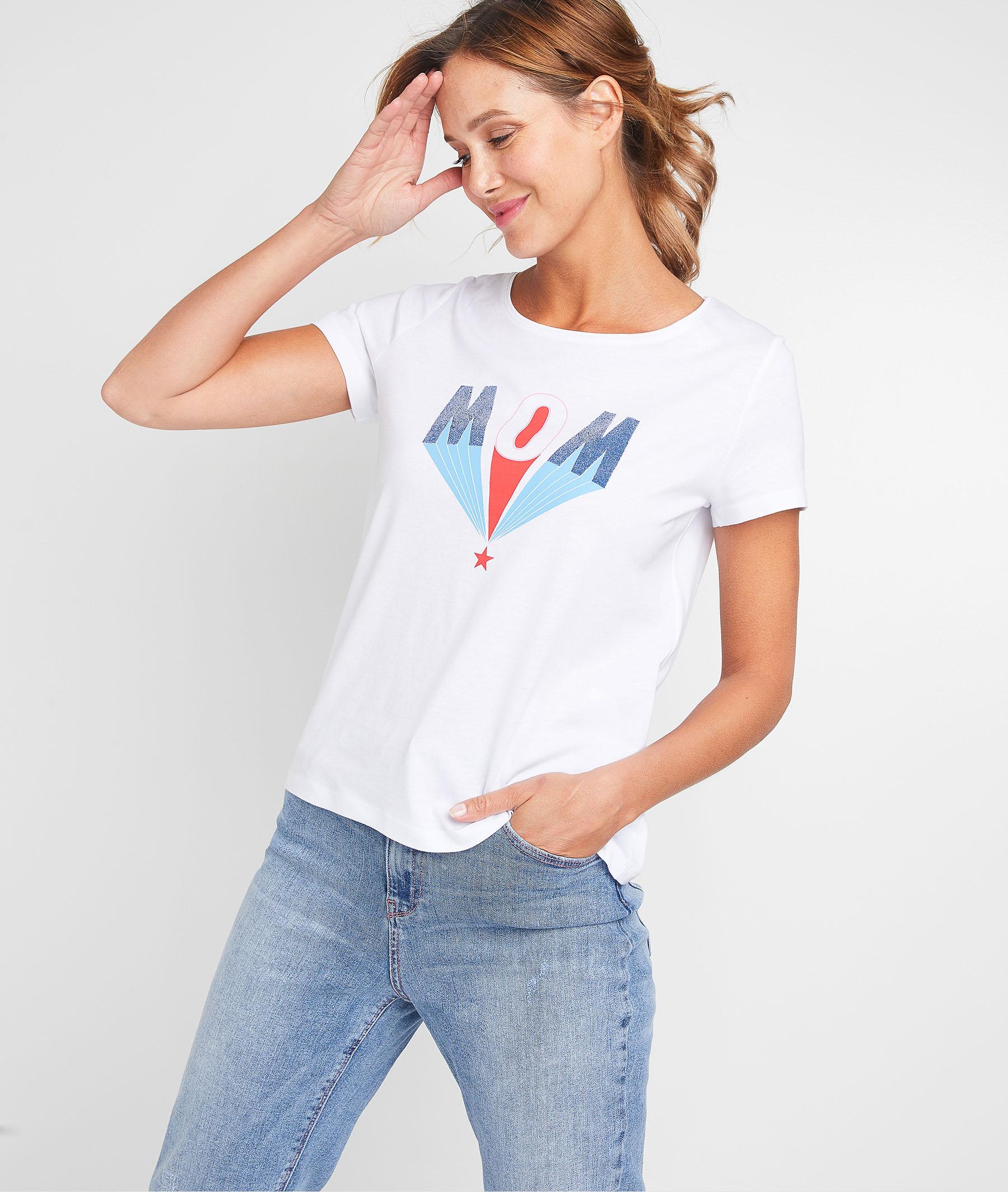 T-shirt à message femme BLANC OPTIQUE