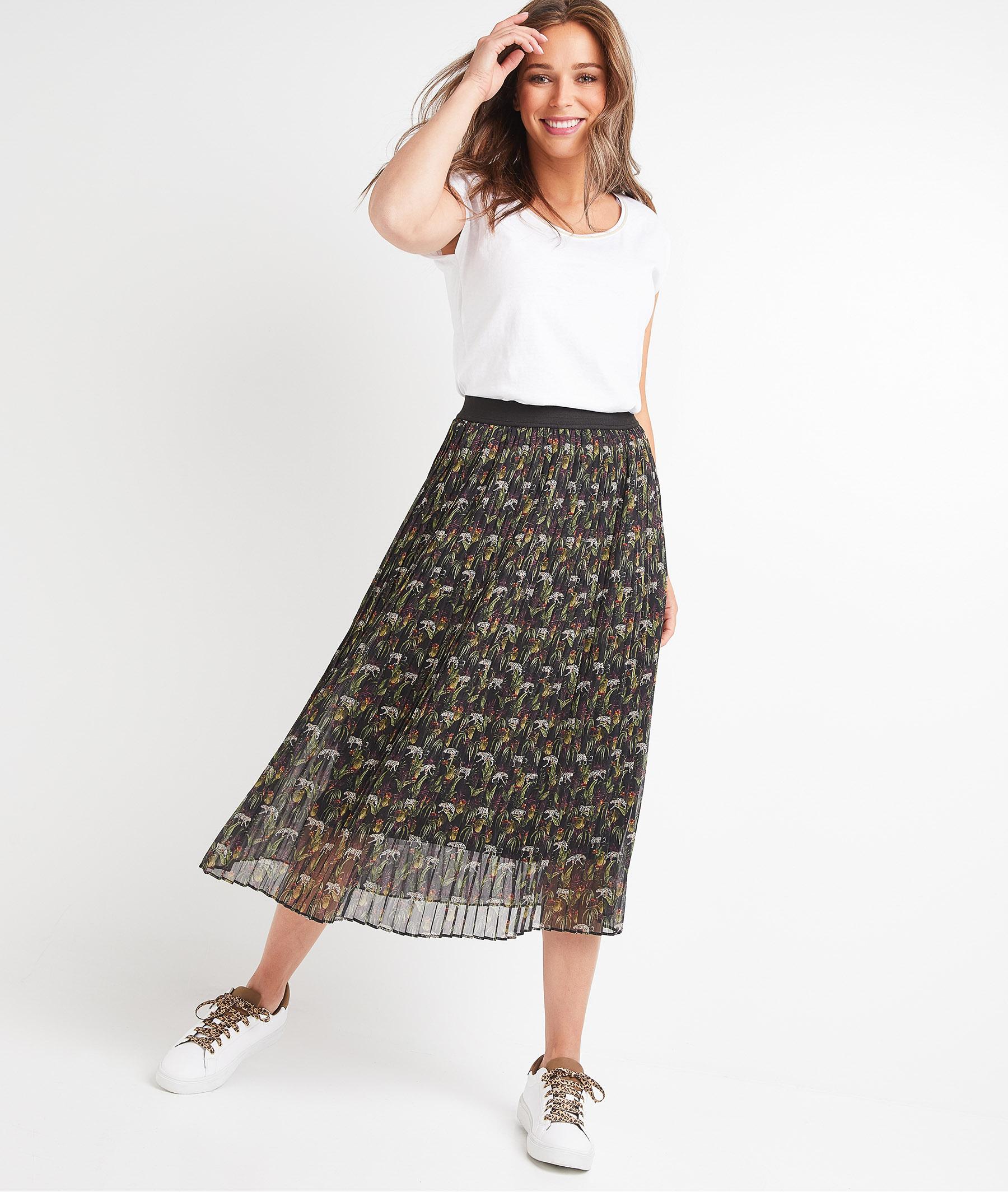 Jupe plissée imprimée femme NOIR