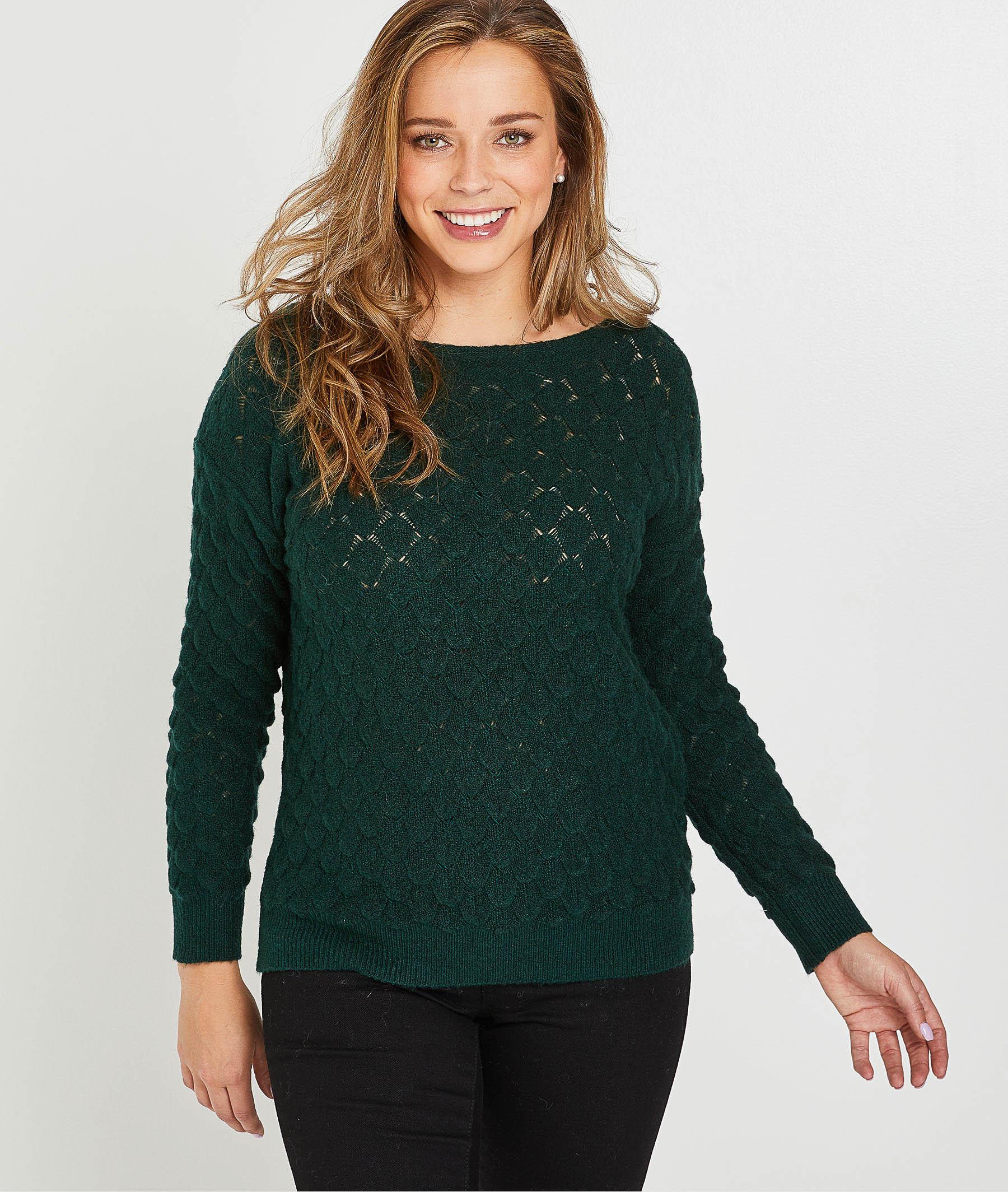 Pull en tricot vert femme VERT