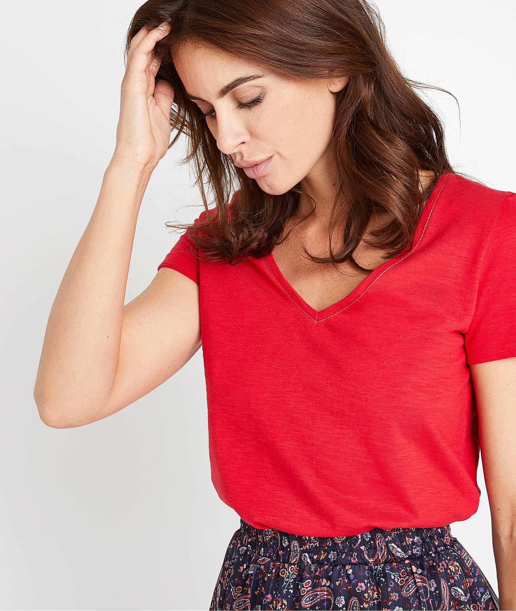 T-shirt uni en coton femme ROUGE