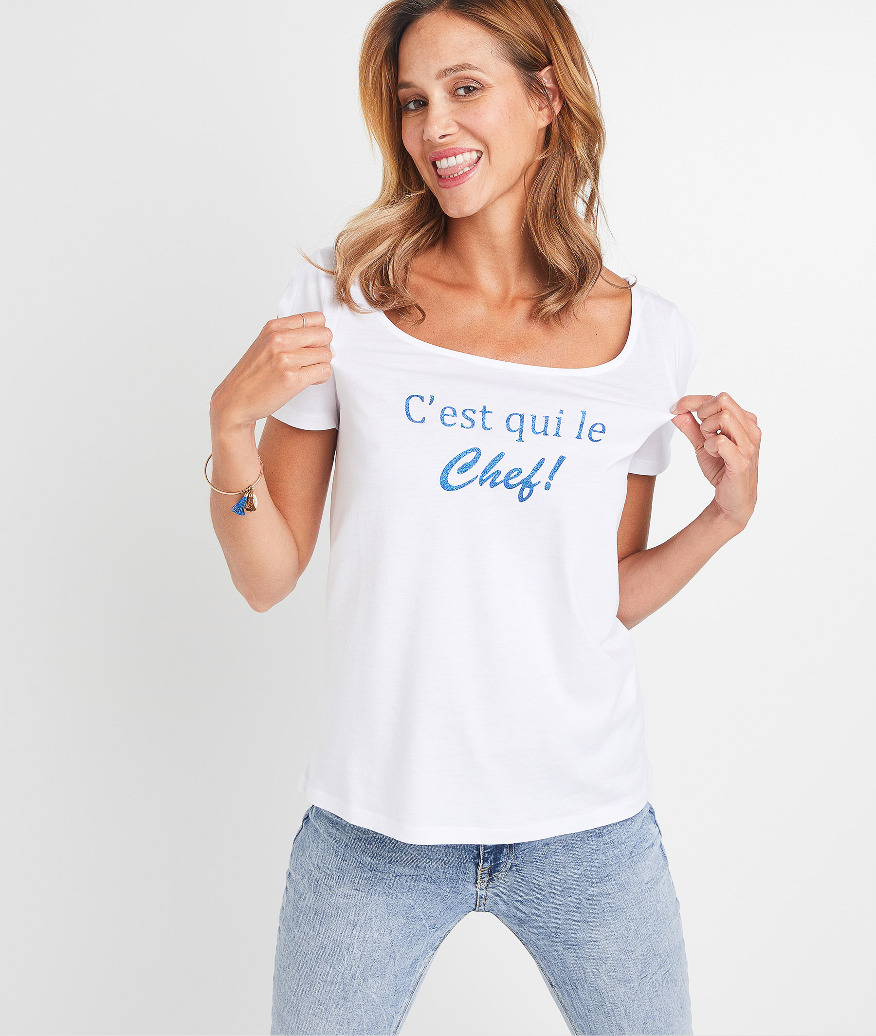 T-shirt blanc à message femme BLANC